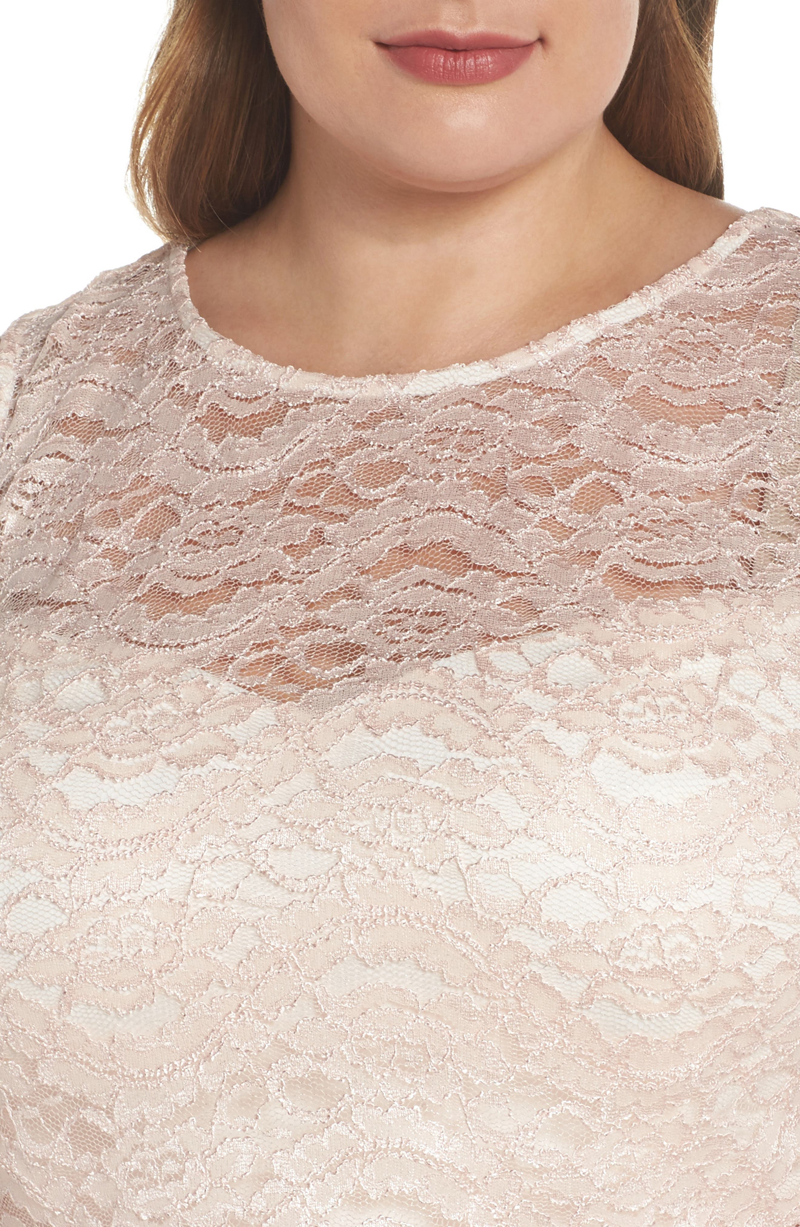 Two-Piece Lace & Mikado Gown,                             Alternate thumbnail 4, color,                             BLUSH/ IVORY