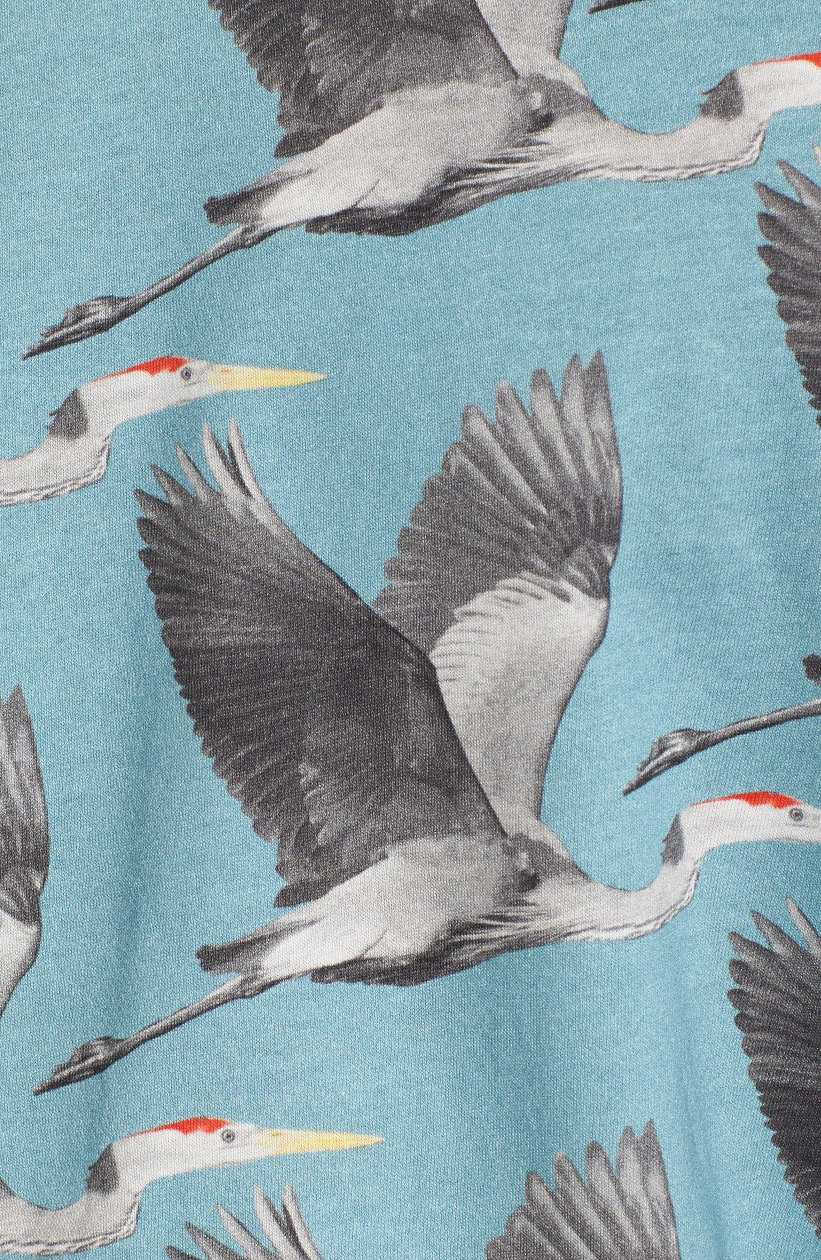 Flute Blue Heron Print T-Shirt,                             Alternate thumbnail 5, color,                             424