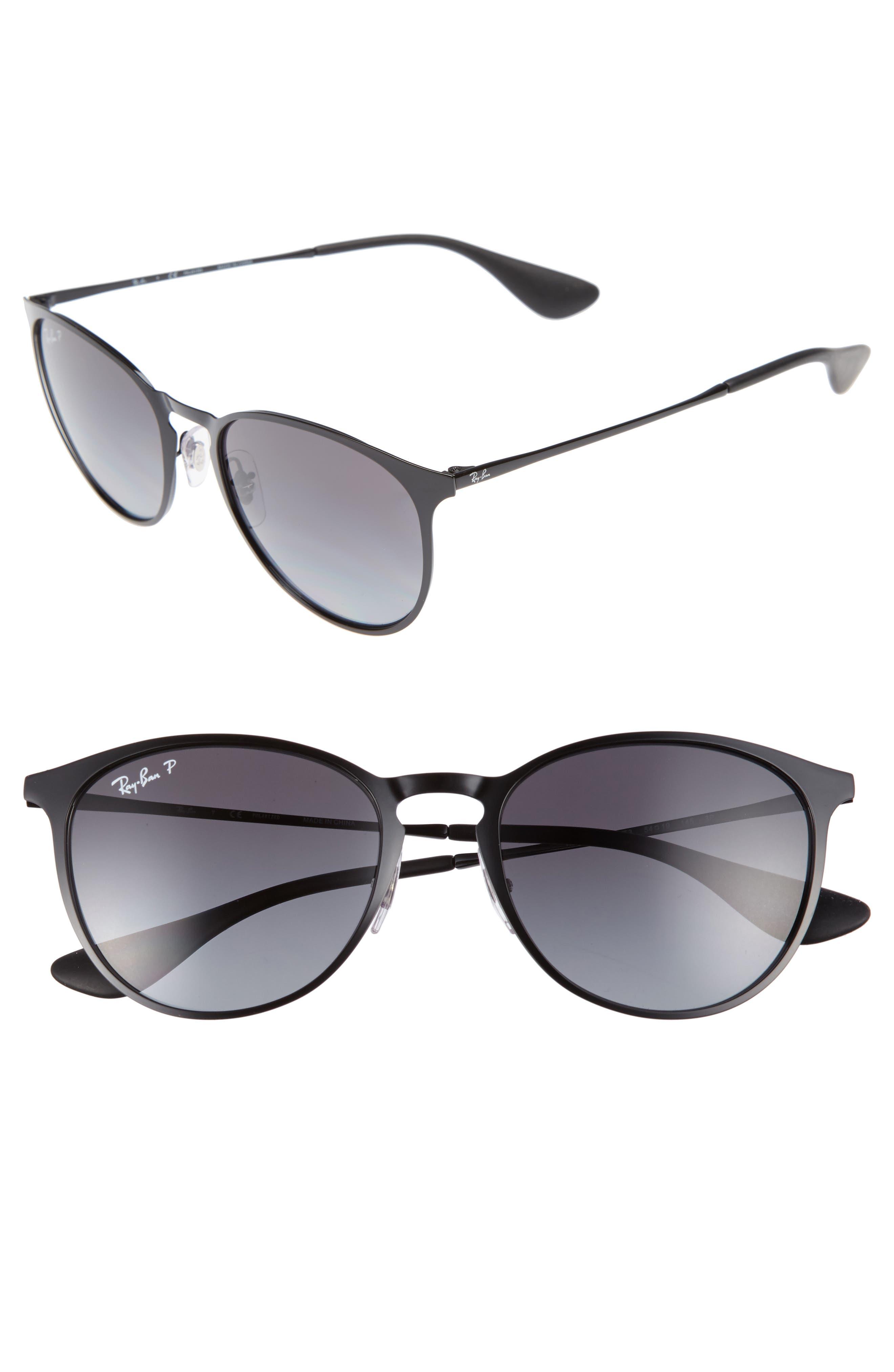 RAY-BAN,                             Erik 54mm Polarized Sunglasses,                             Main thumbnail 1, color,                             SHINY BLACK