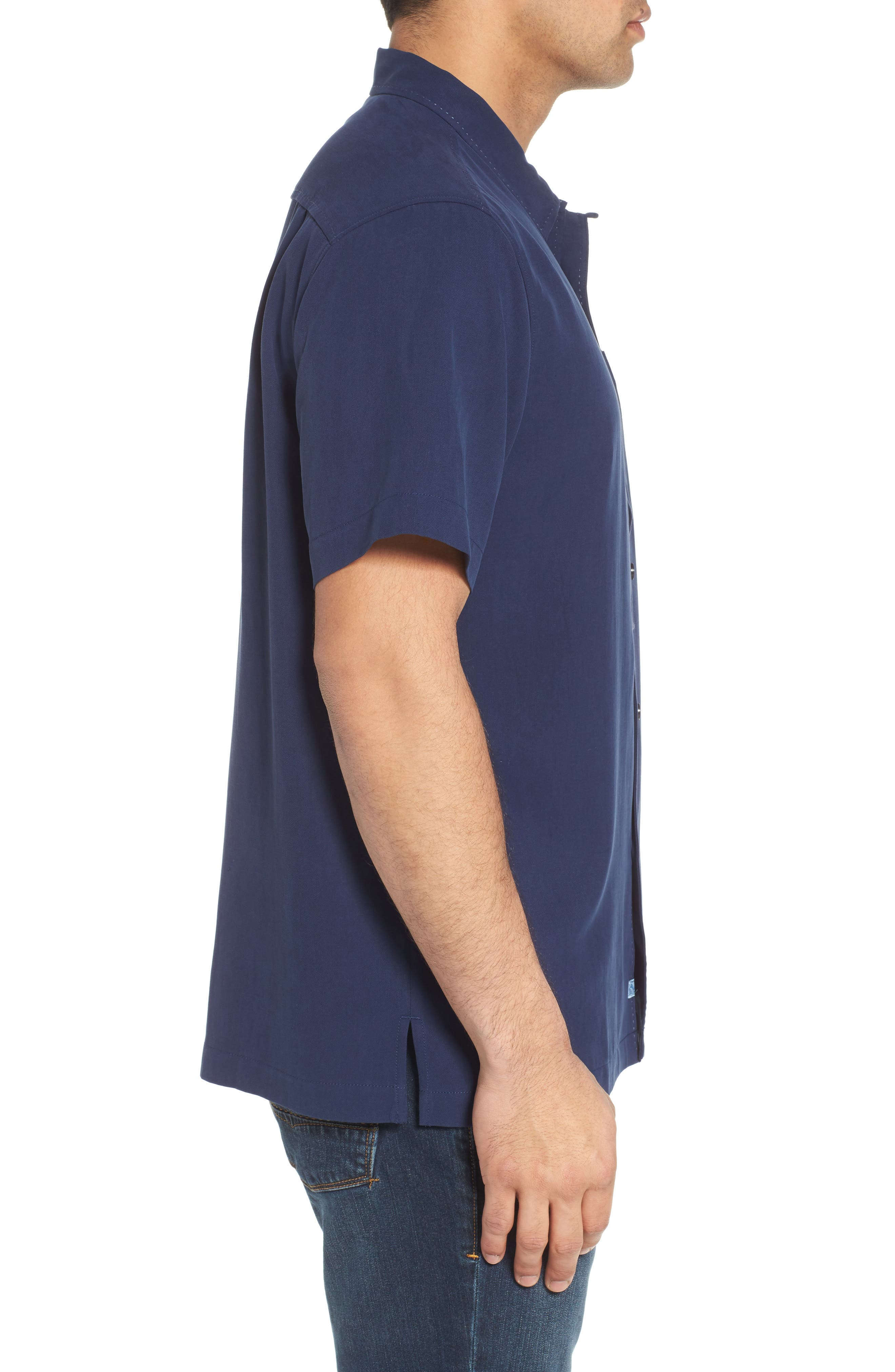 Catalina Silk Camp Shirt,                             Alternate thumbnail 3, color,                             NAVY