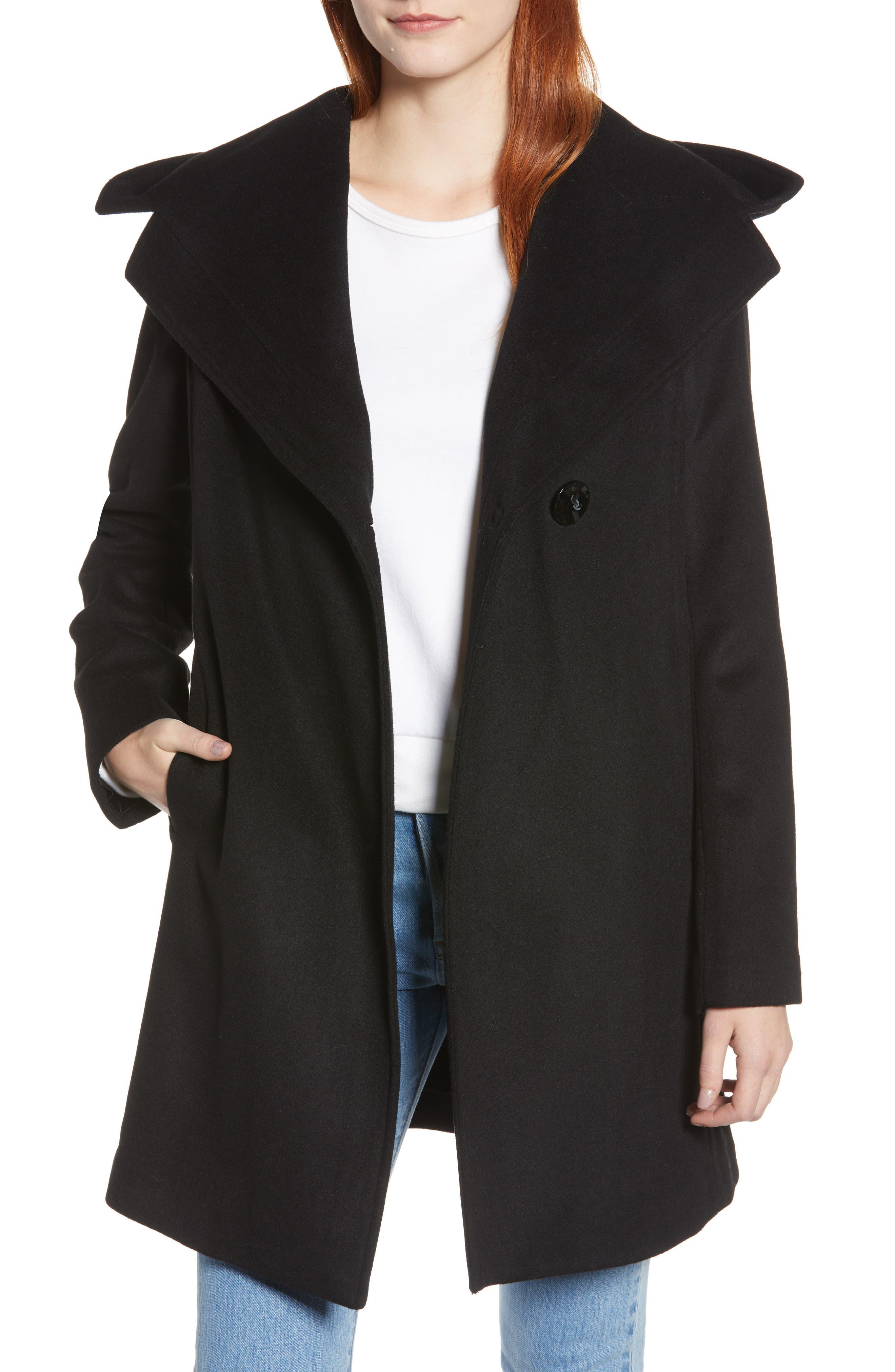 Shawl Collar Hooded Coat,                         Main,                         color, BLACK