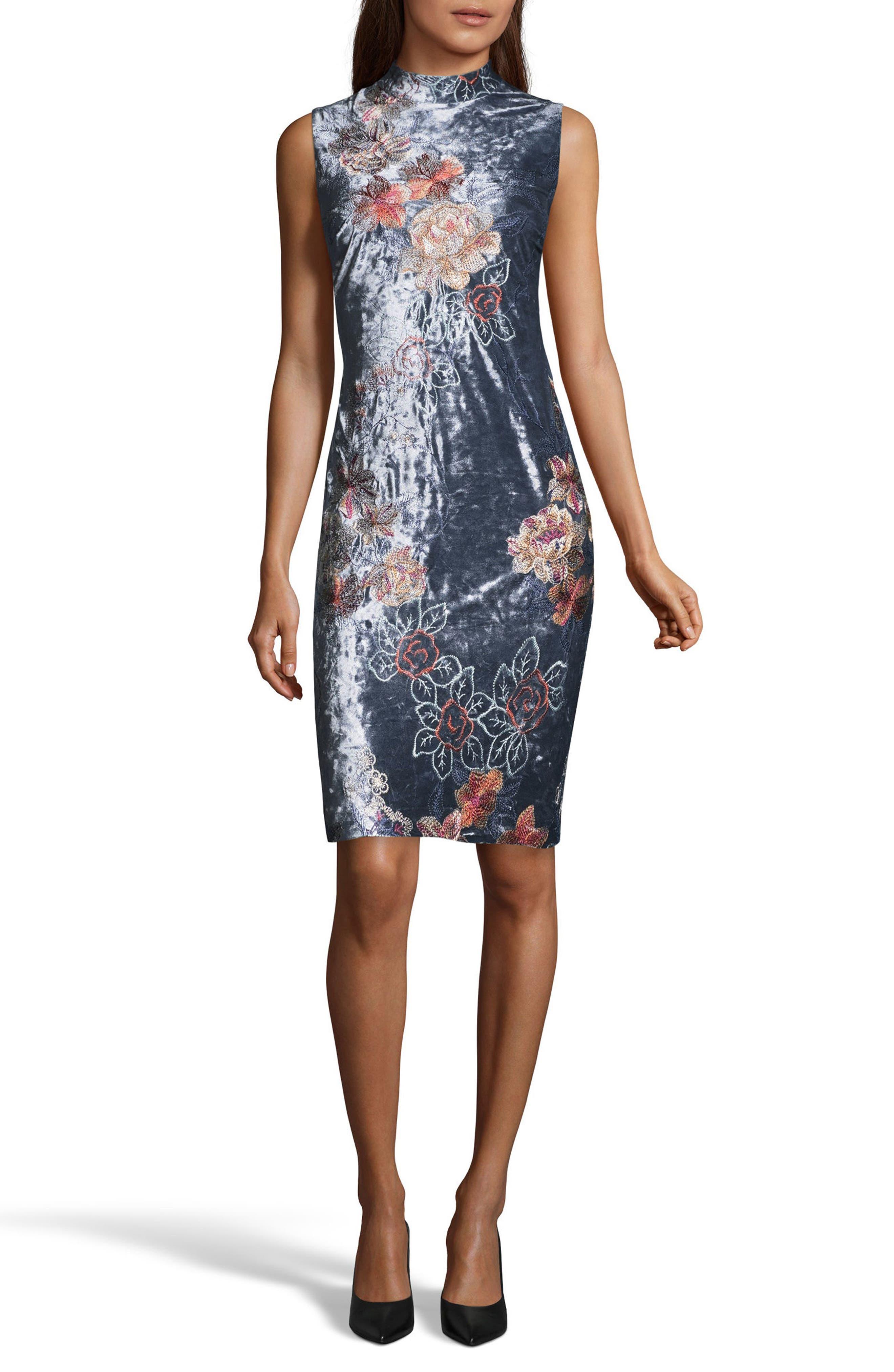 Crushed Velvet Sheath Dress,                             Main thumbnail 1, color,