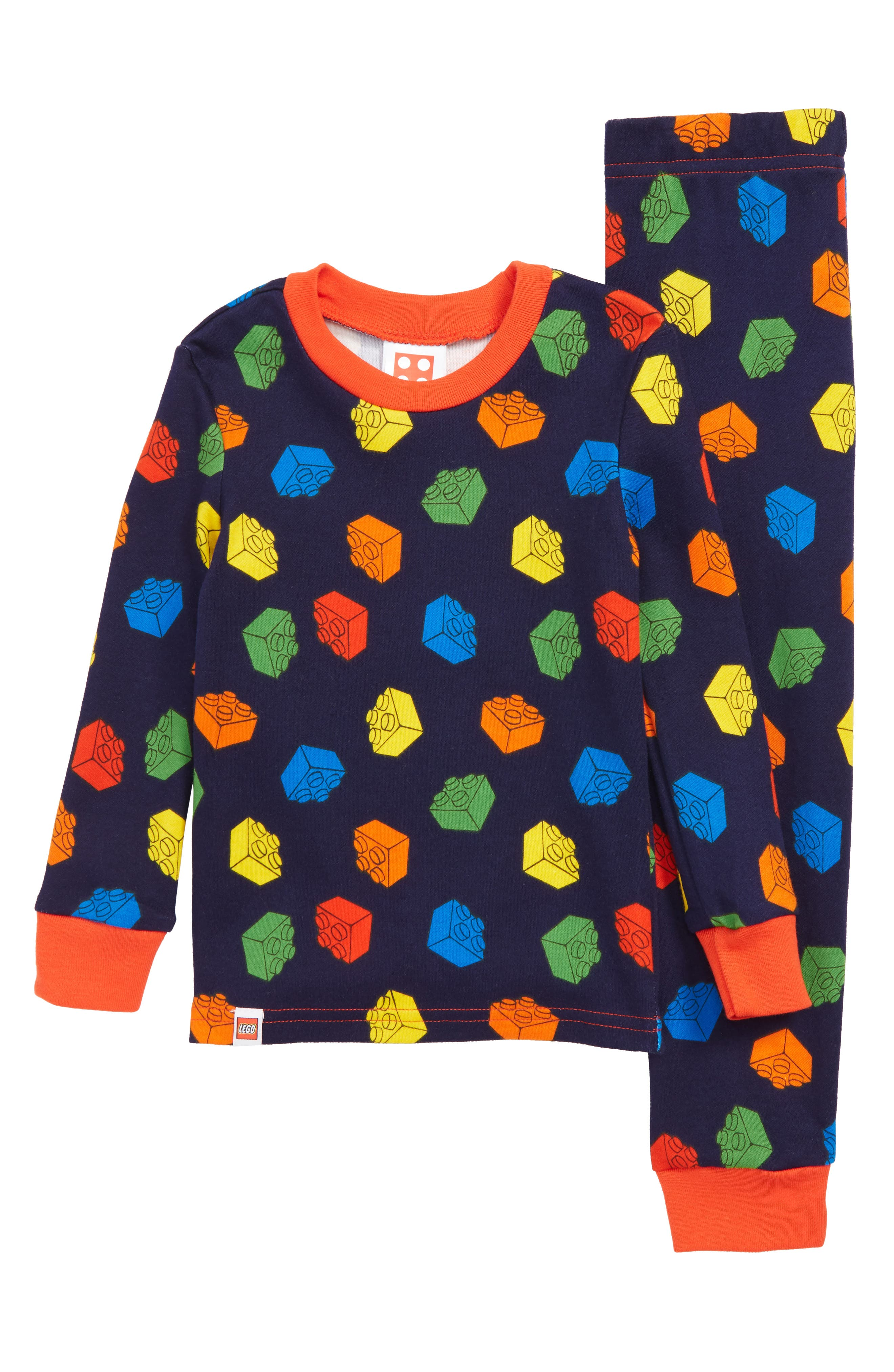 Brick Fitted Two-Piece Pajamas,                         Main,                         color, BLUE