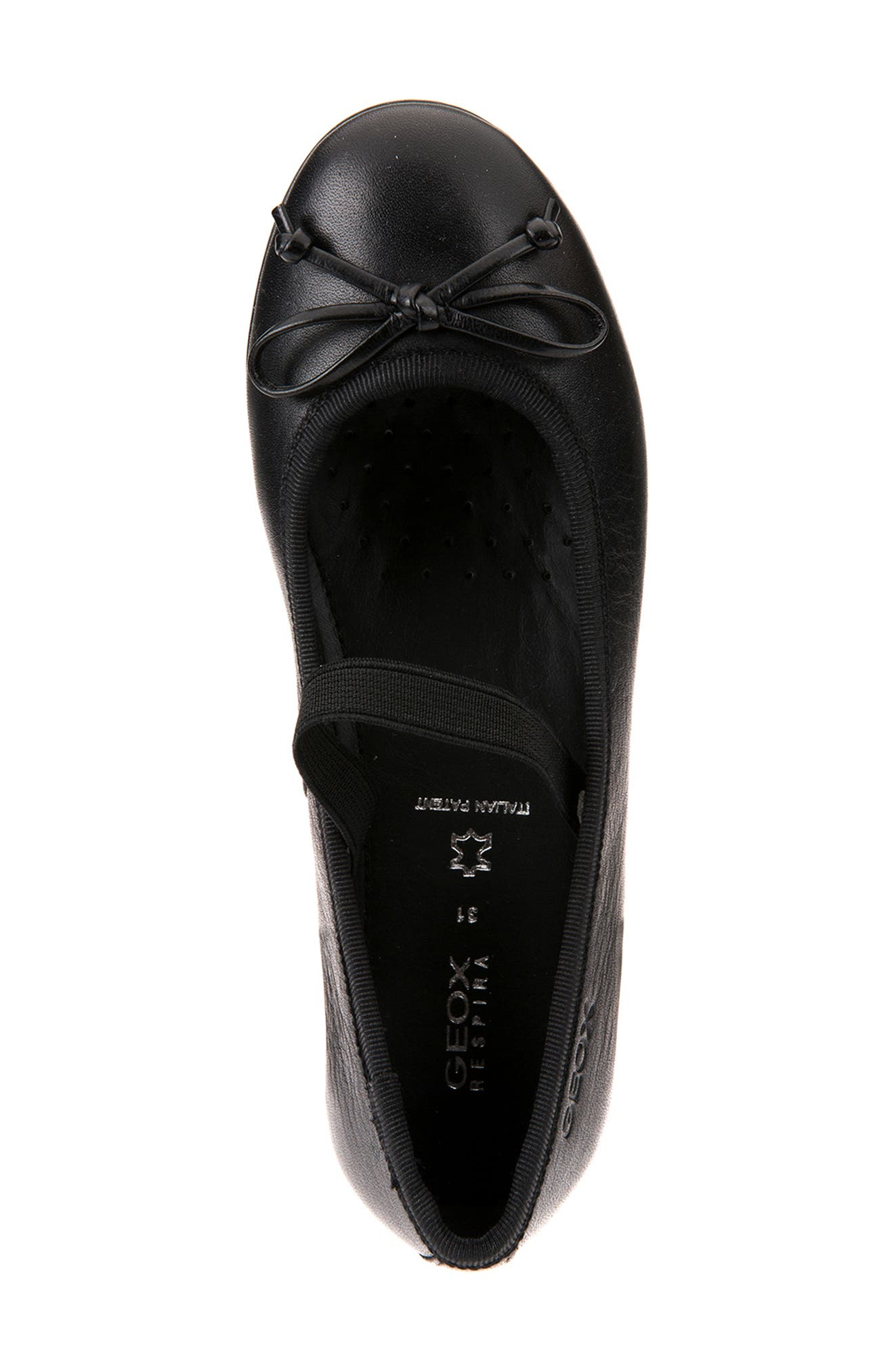 Plie Leather Ballet Flat,                             Alternate thumbnail 4, color,                             BLACK