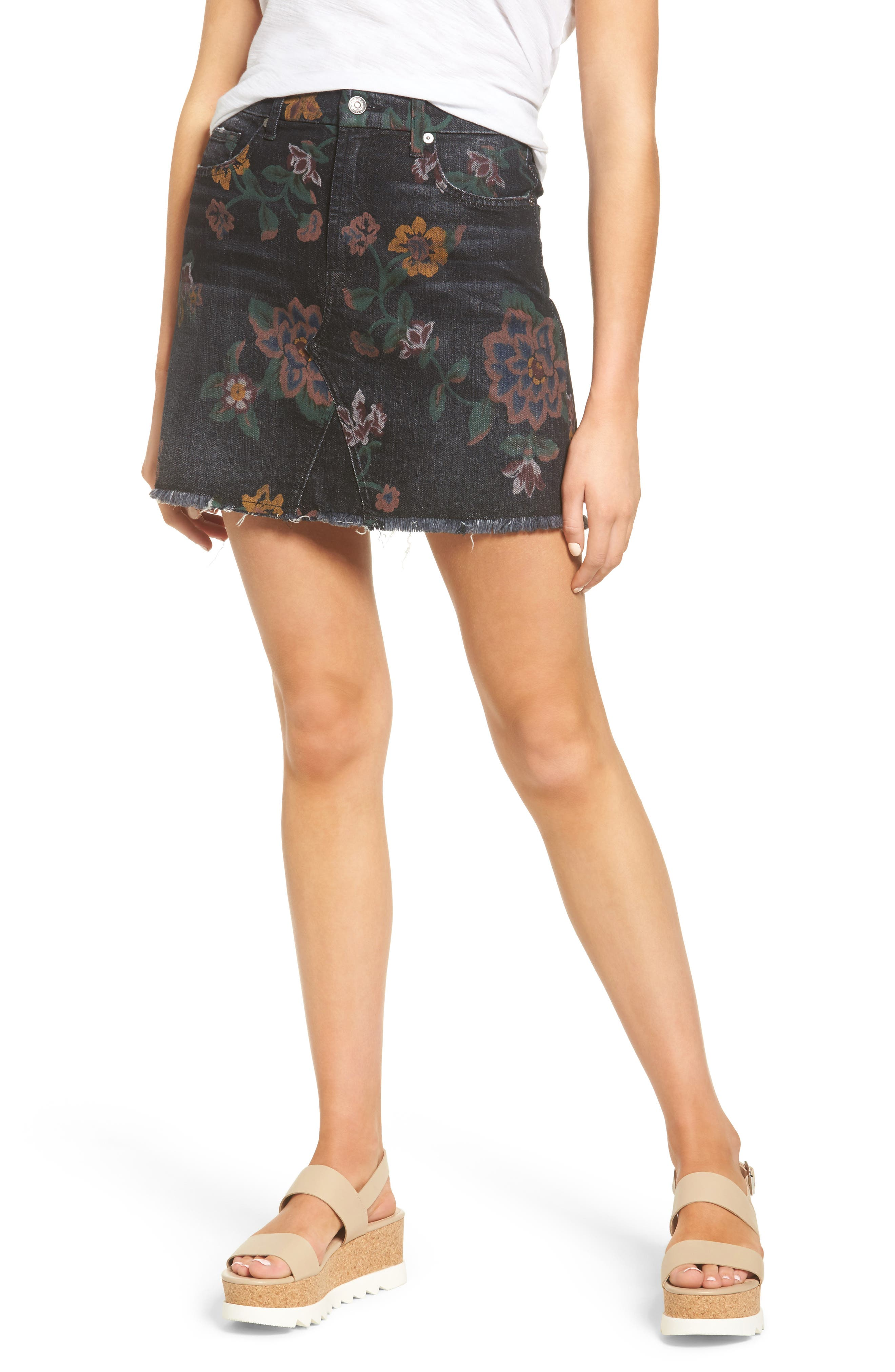 Print Denim Miniskirt,                             Main thumbnail 1, color,                             004