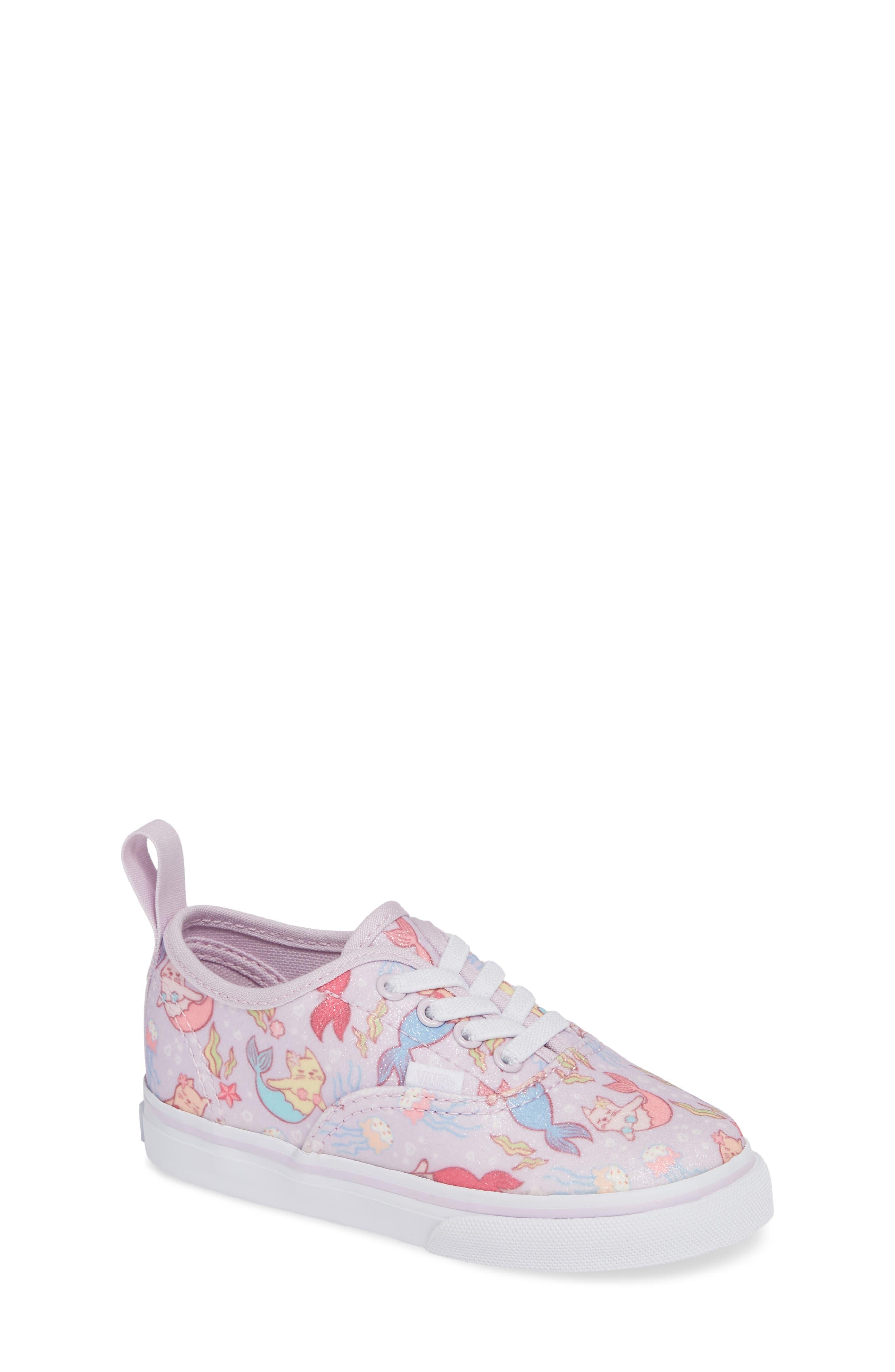 Authentic Elastic Lace Sneaker,                         Main,                         color, LAVENDER FOG/ TRUE WHITE