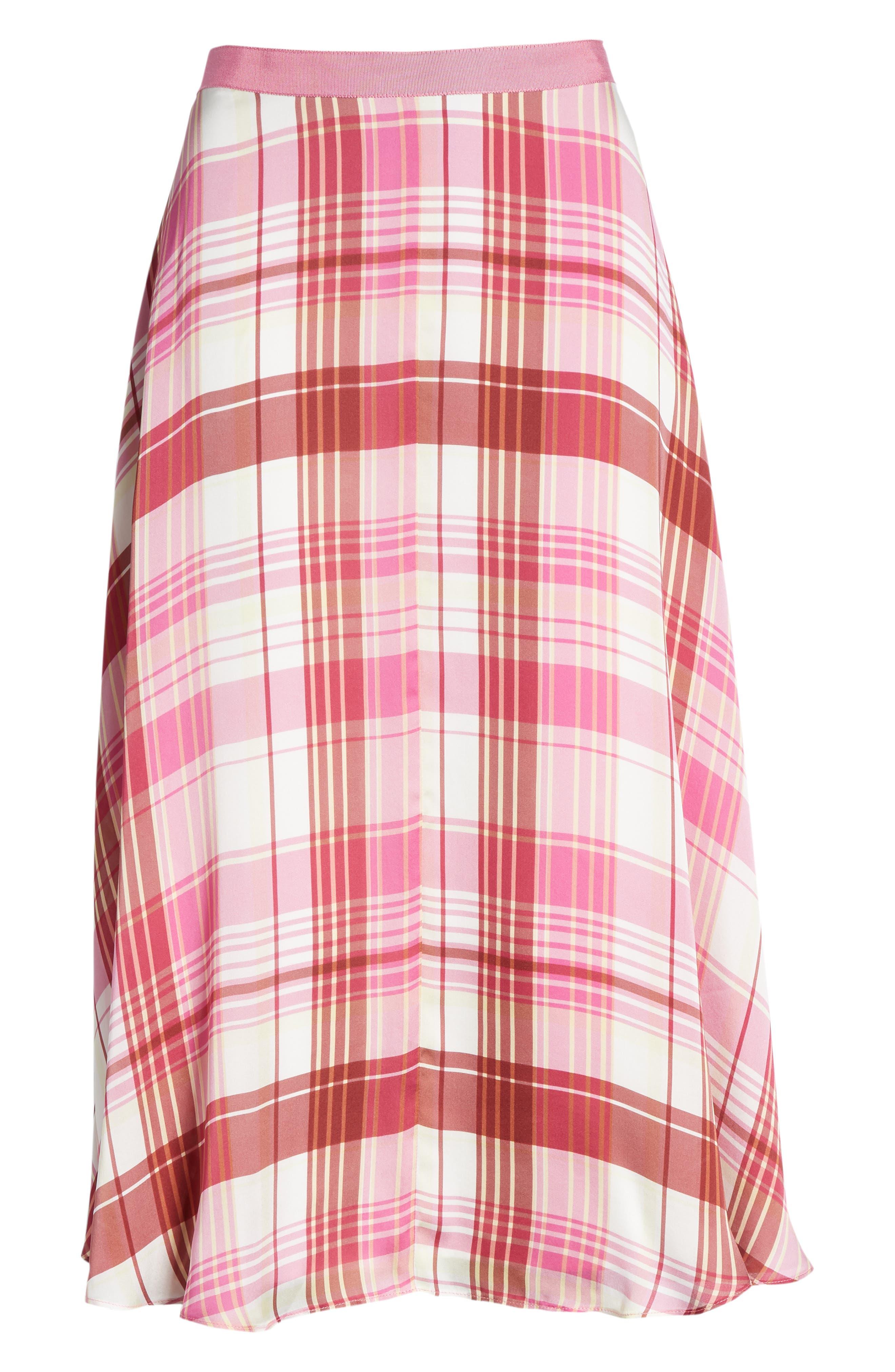Plaid Silk Skirt,                             Alternate thumbnail 6, color,                             PINK PHLOX LARA PLAID