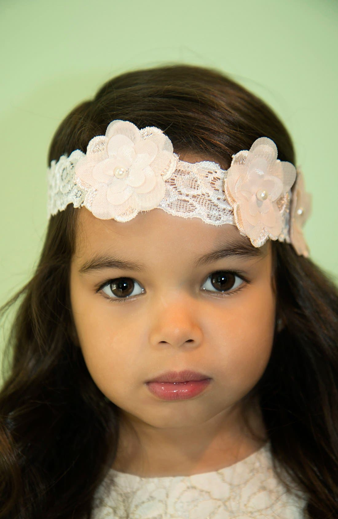 Flower Embellished Lace Head Wrap,                             Alternate thumbnail 4, color,
