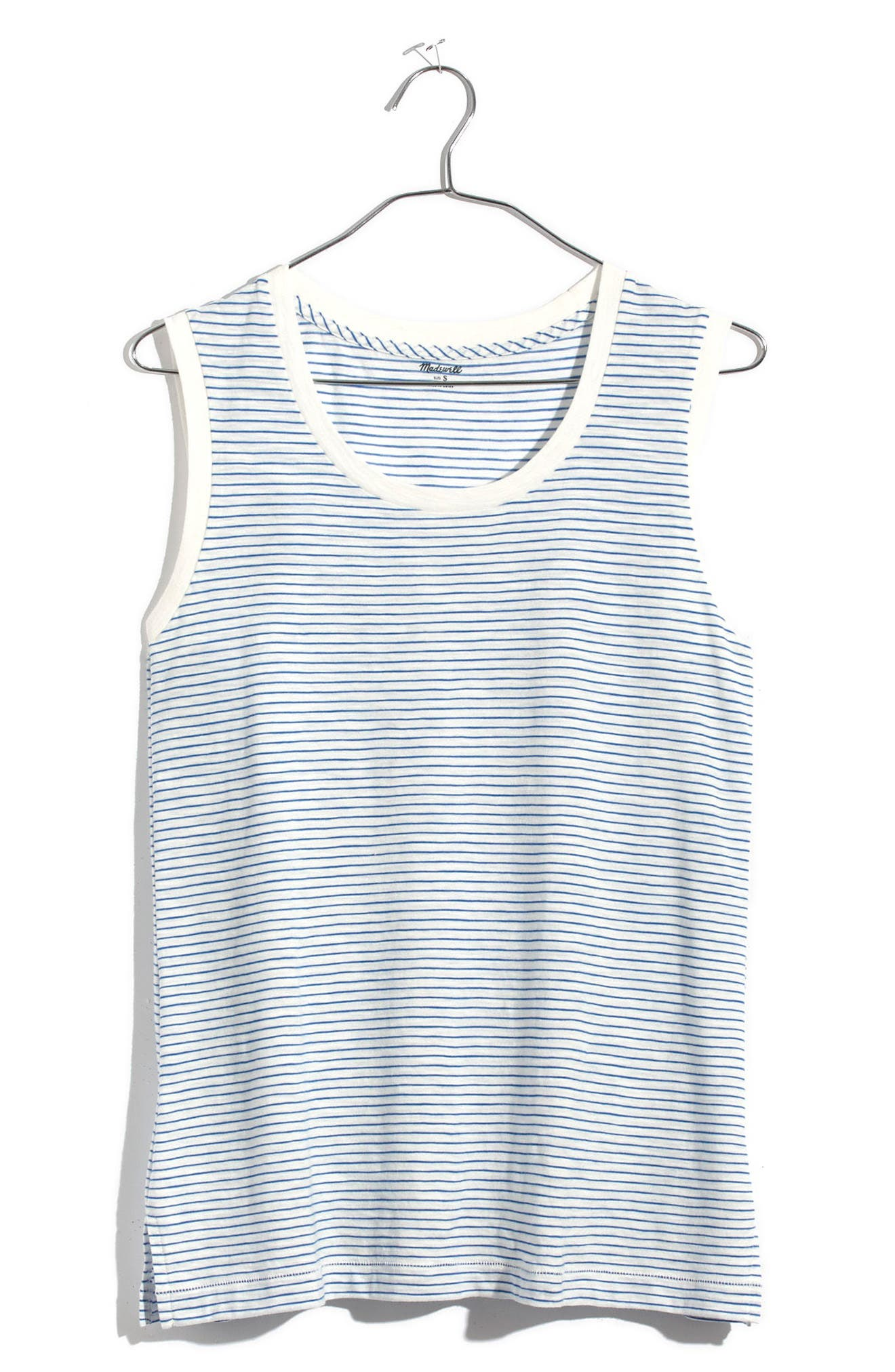 Whisper Cotton Stripe Muscle Tank,                             Alternate thumbnail 3, color,                             400