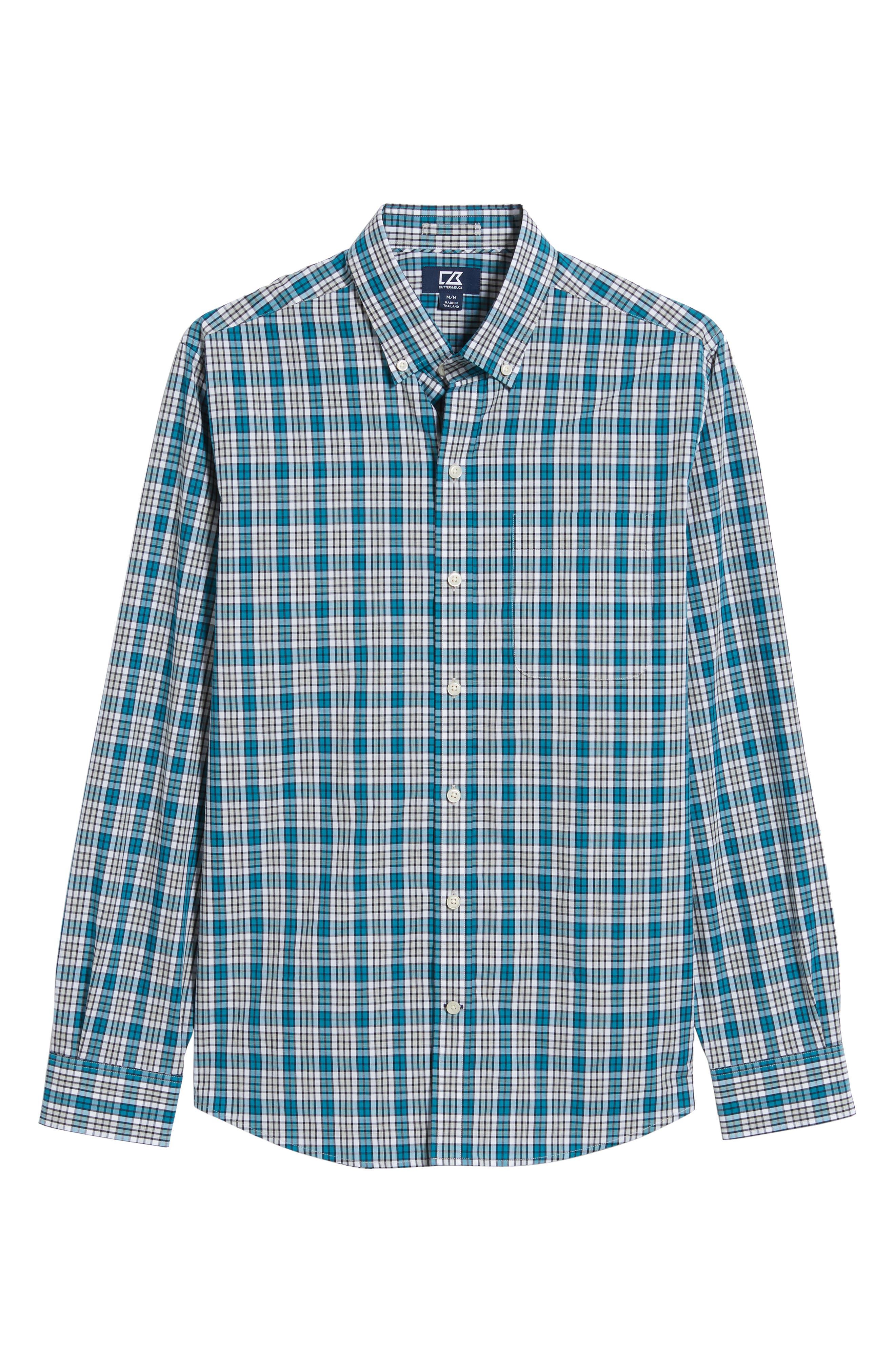 Harris Regular Fit Non-Iron Plaid Sport Shirt,                             Alternate thumbnail 5, color,                             AQUATIC