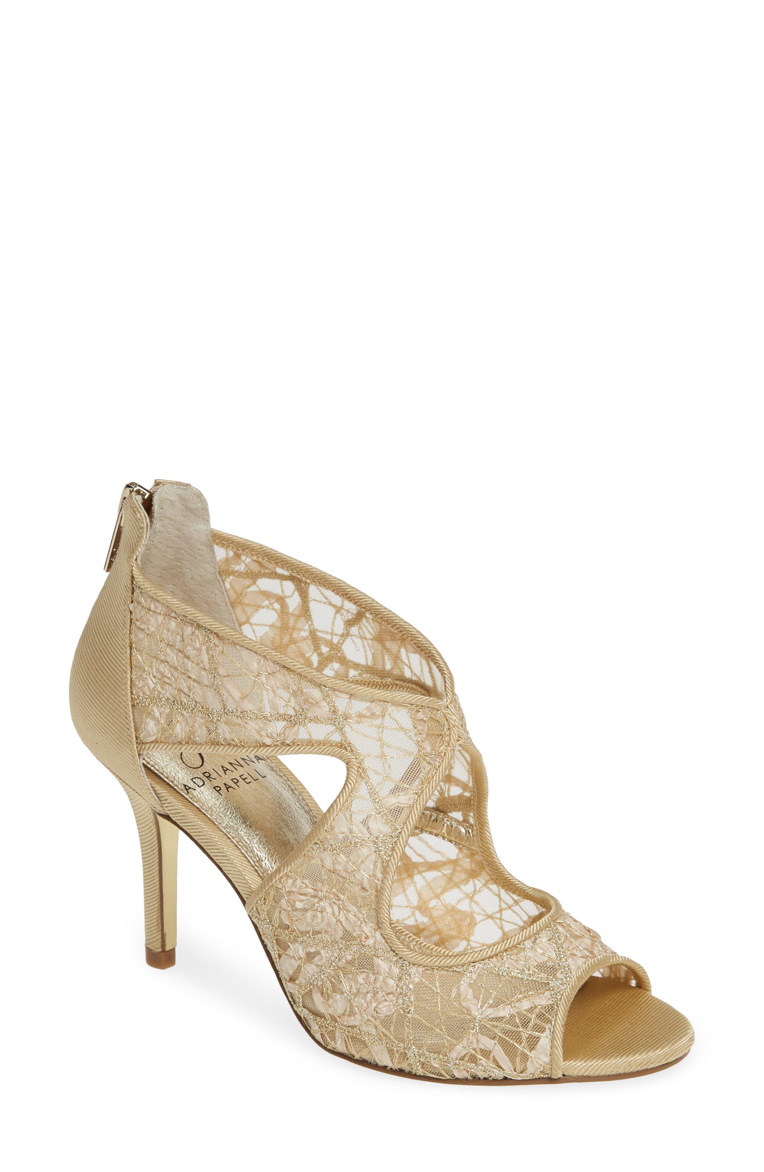 Adrianna Papell Arissa Lace Sandal, Metallic