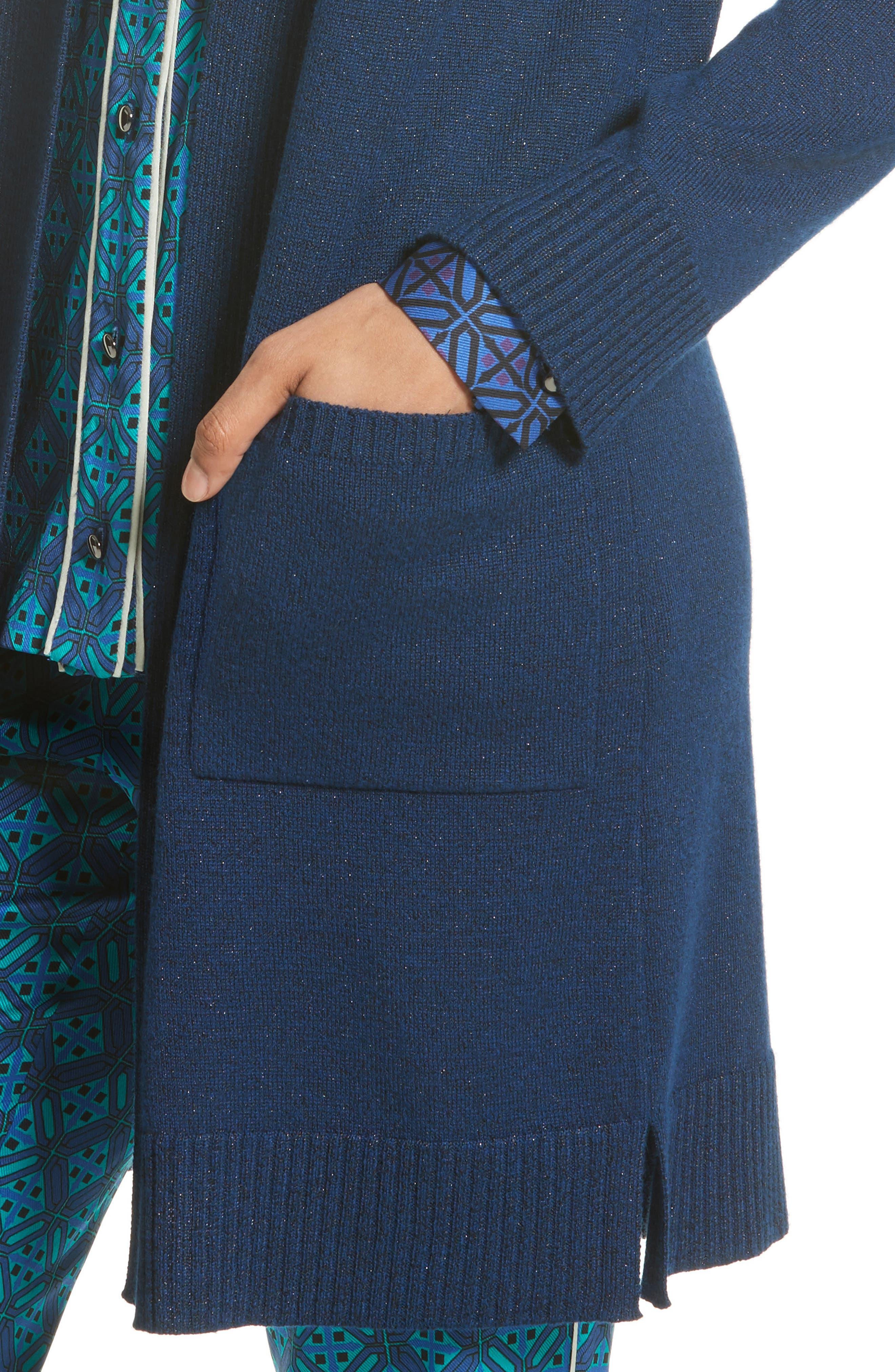 Jersey Cashmere Blend Sparkle Knit Jacket,                             Alternate thumbnail 4, color,                             410