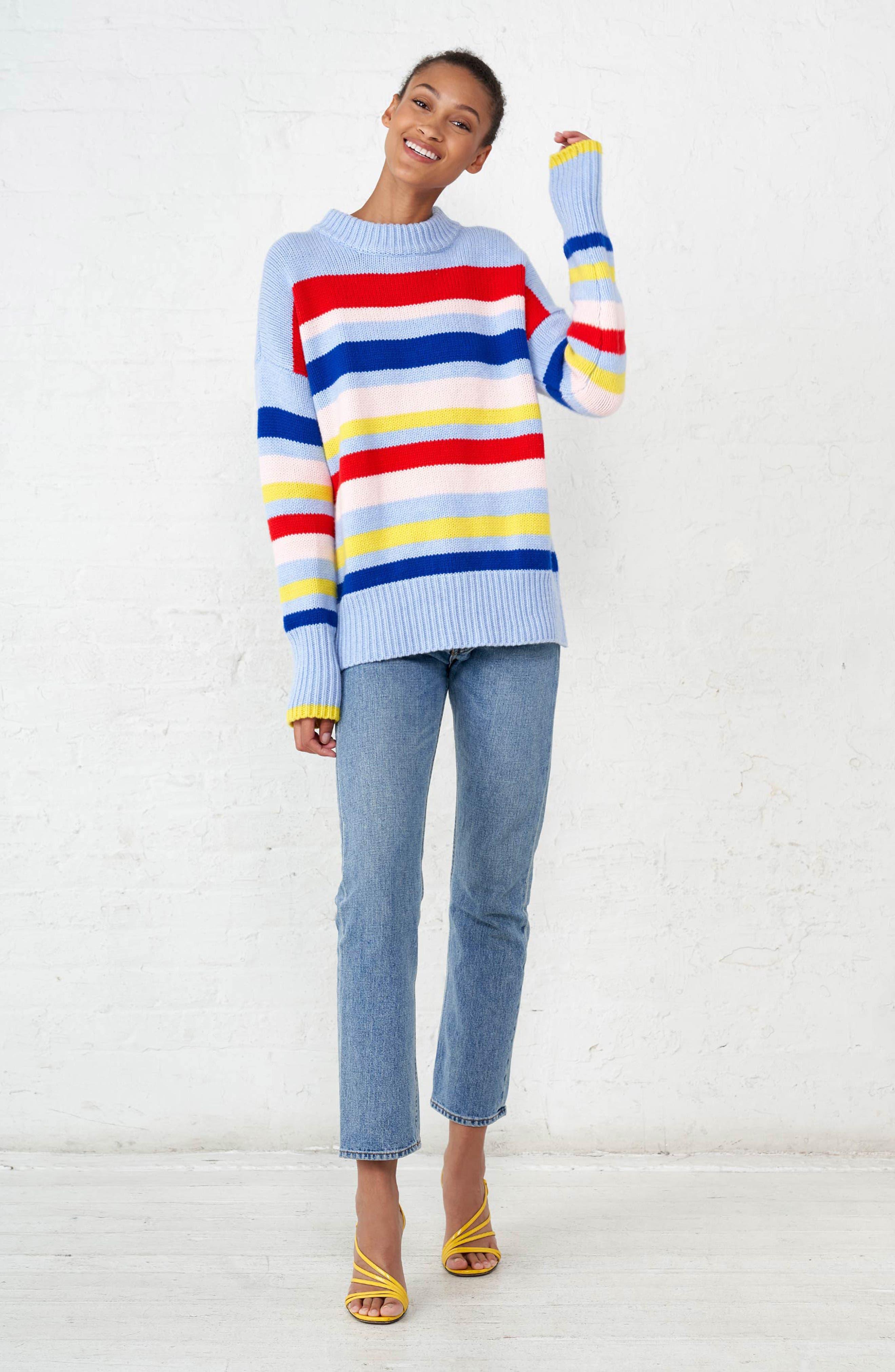 LA LIGNE,                             Happy Marin Sweater,                             Alternate thumbnail 8, color,                             RAINBOW STRIPE