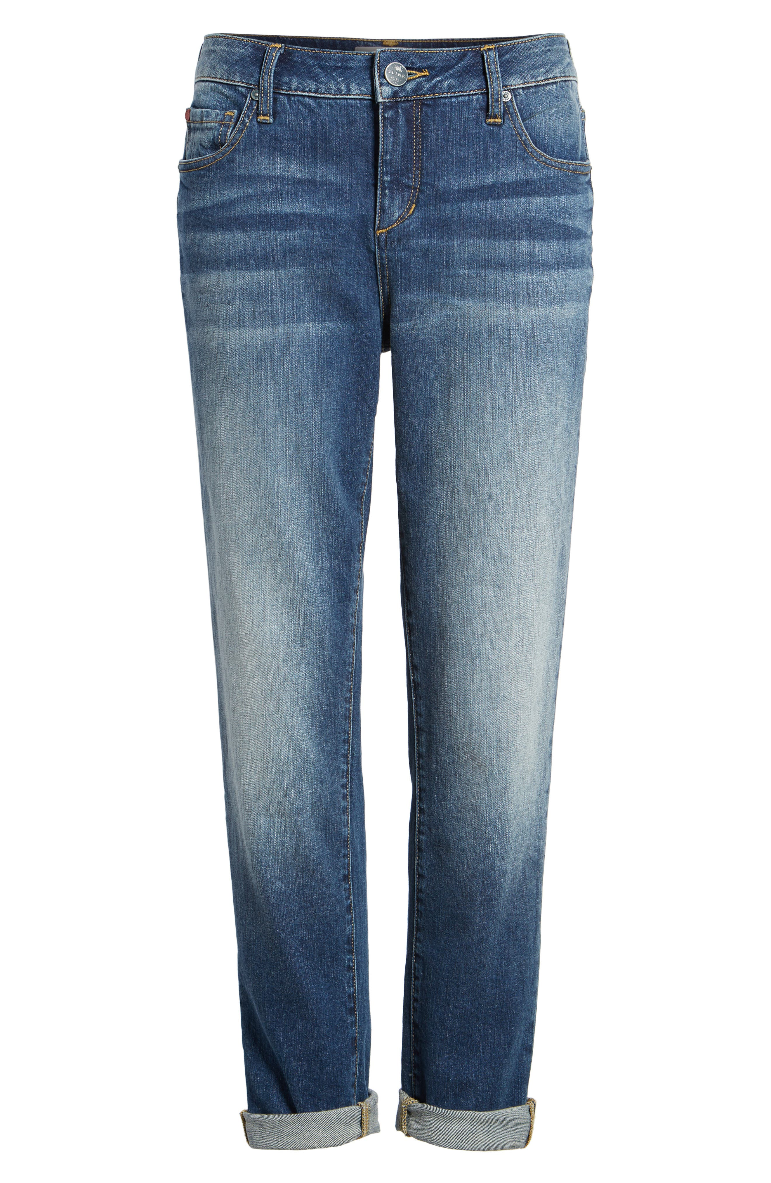 SLINK JEANS,                             Rolled Boyfriend Jeans,                             Alternate thumbnail 7, color,                             VAL