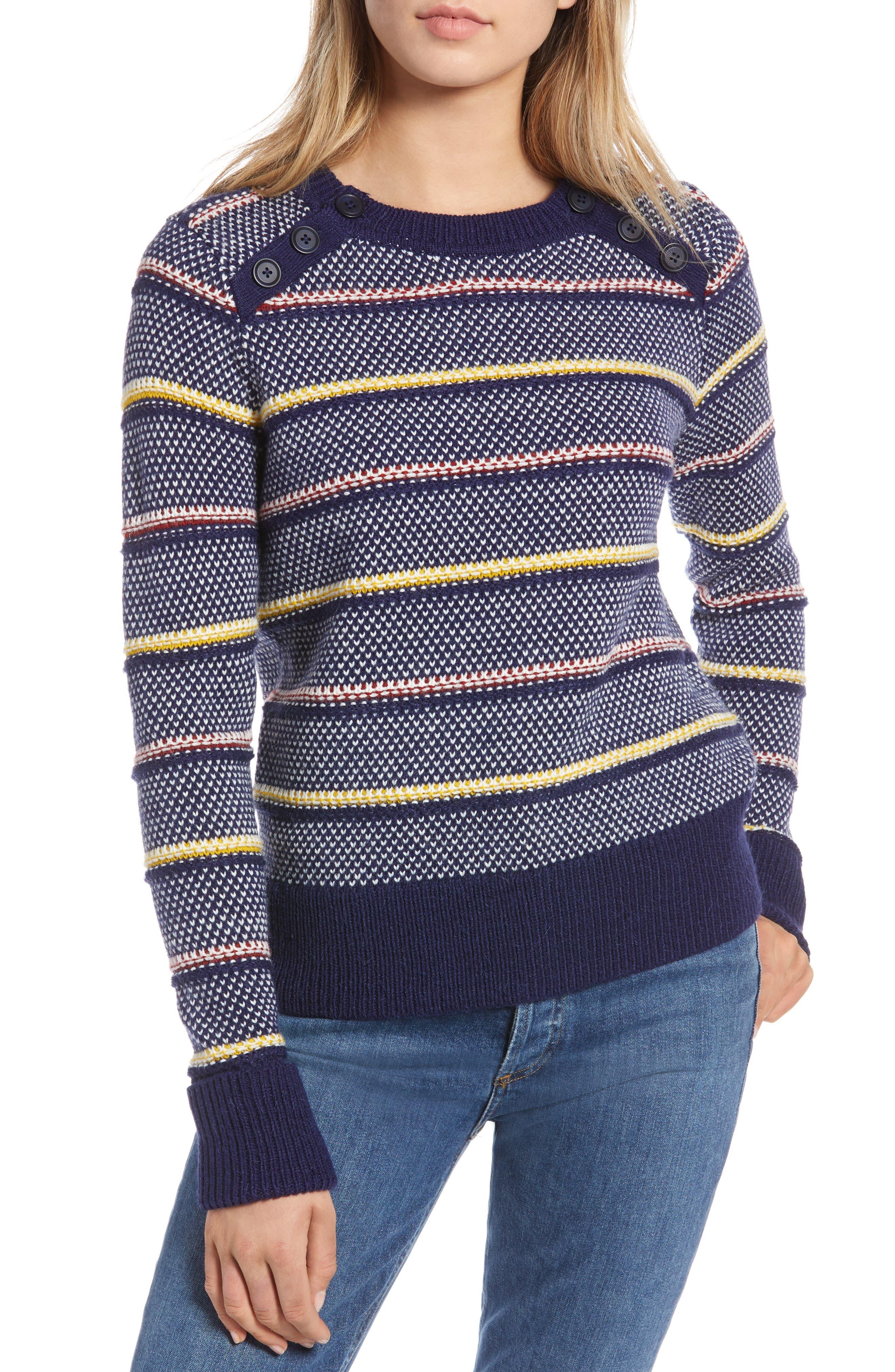 Button Detail Stripe Wool Blend Texture Sweater,                             Main thumbnail 1, color,                             NAVY BERET PATTERN