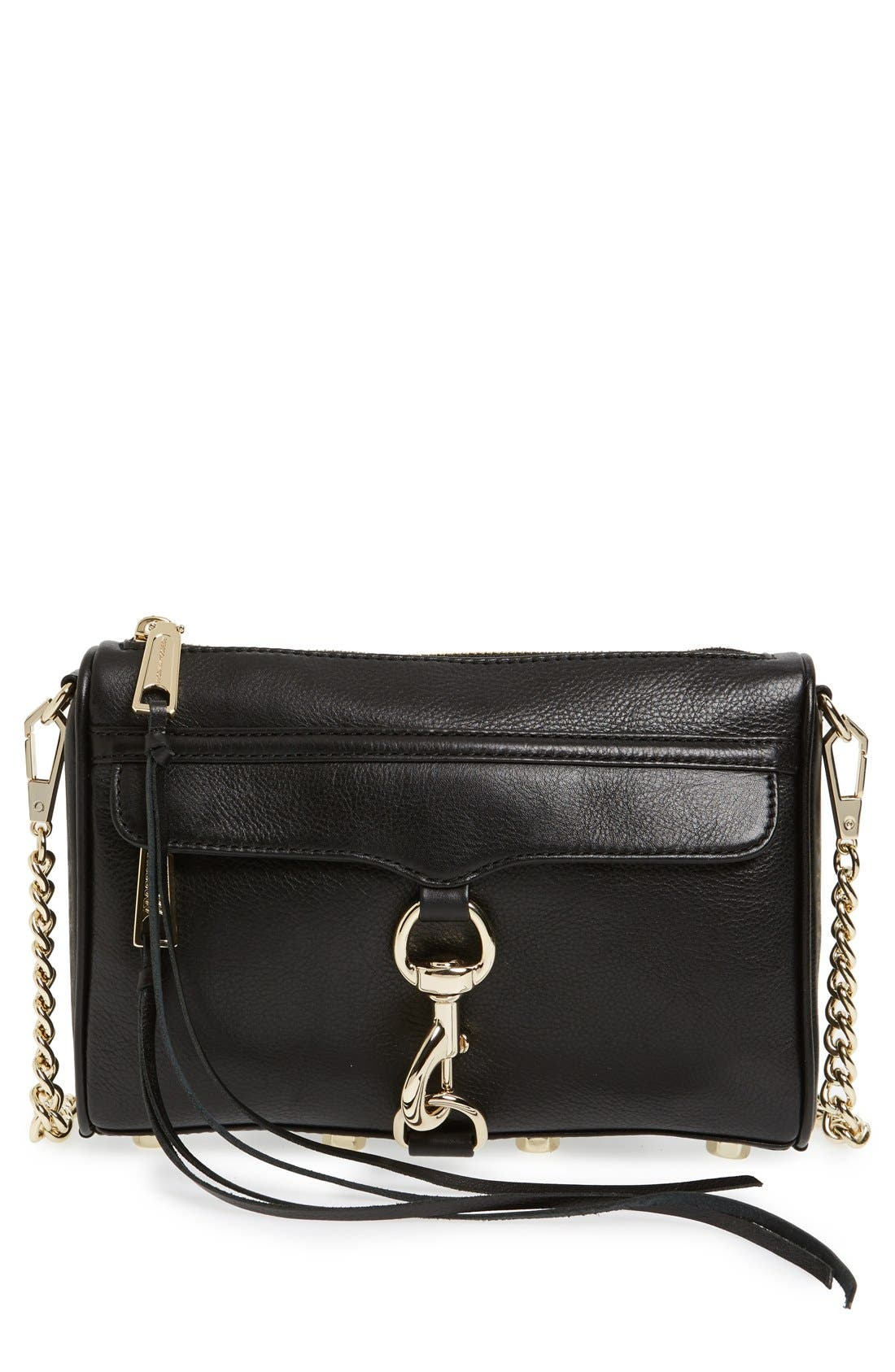 Mini MAC Convertible Crossbody Bag,                             Main thumbnail 1, color,                             BLACK LEATHER/ LT GOLD HRDWR