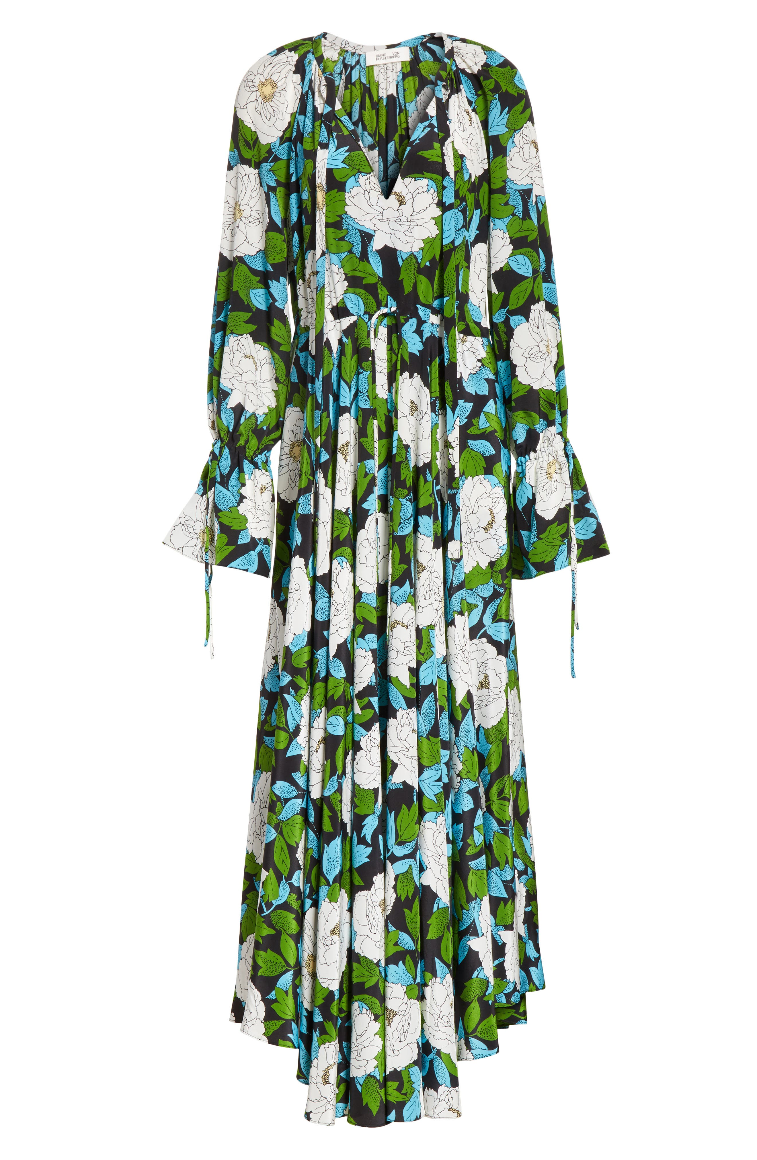 Diane von Furstenberg Floral Silk Maxi Dress,                             Alternate thumbnail 6, color,                             389