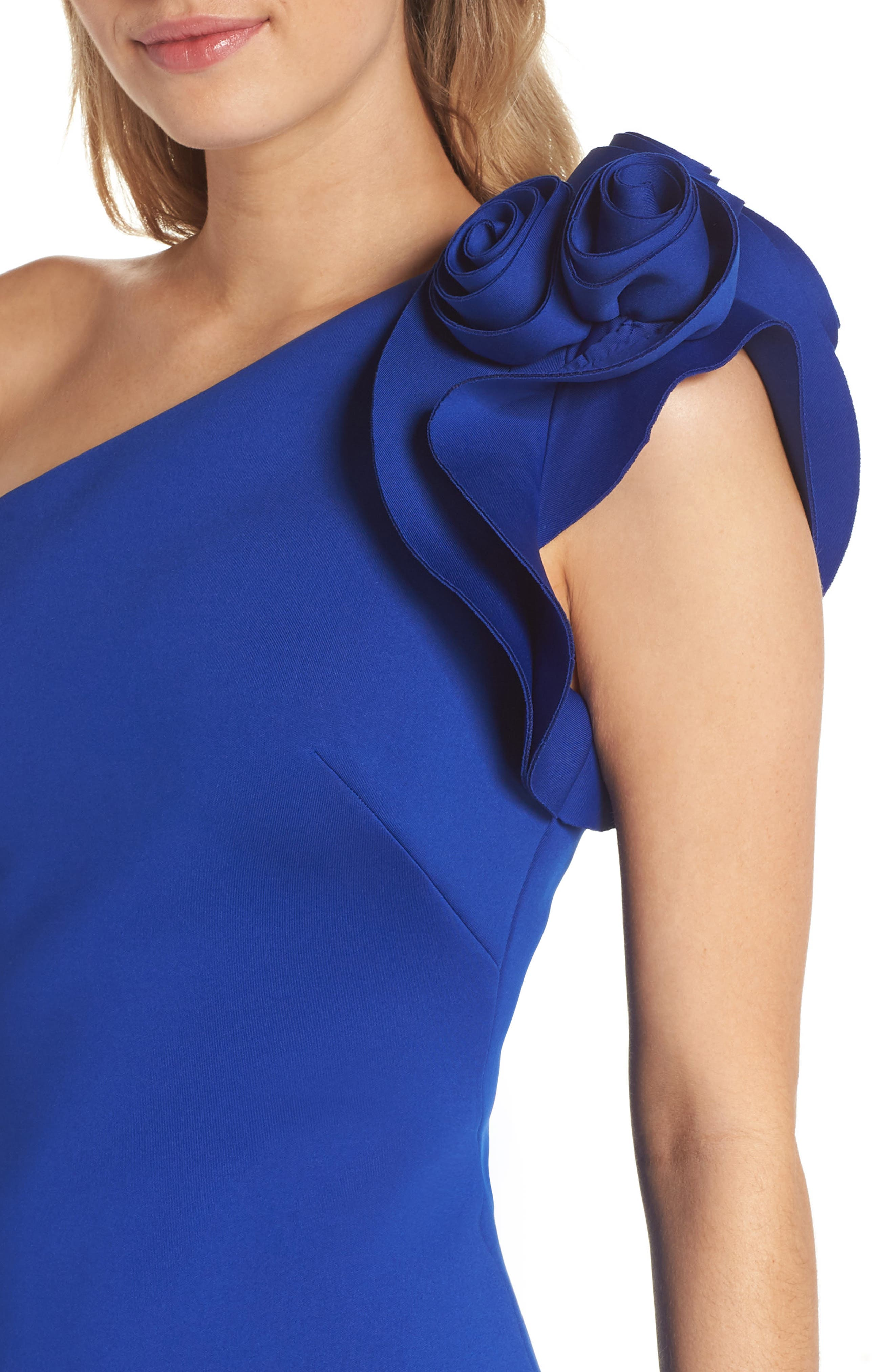 One-Shoulder Sheath Dress,                             Alternate thumbnail 4, color,                             COBALT