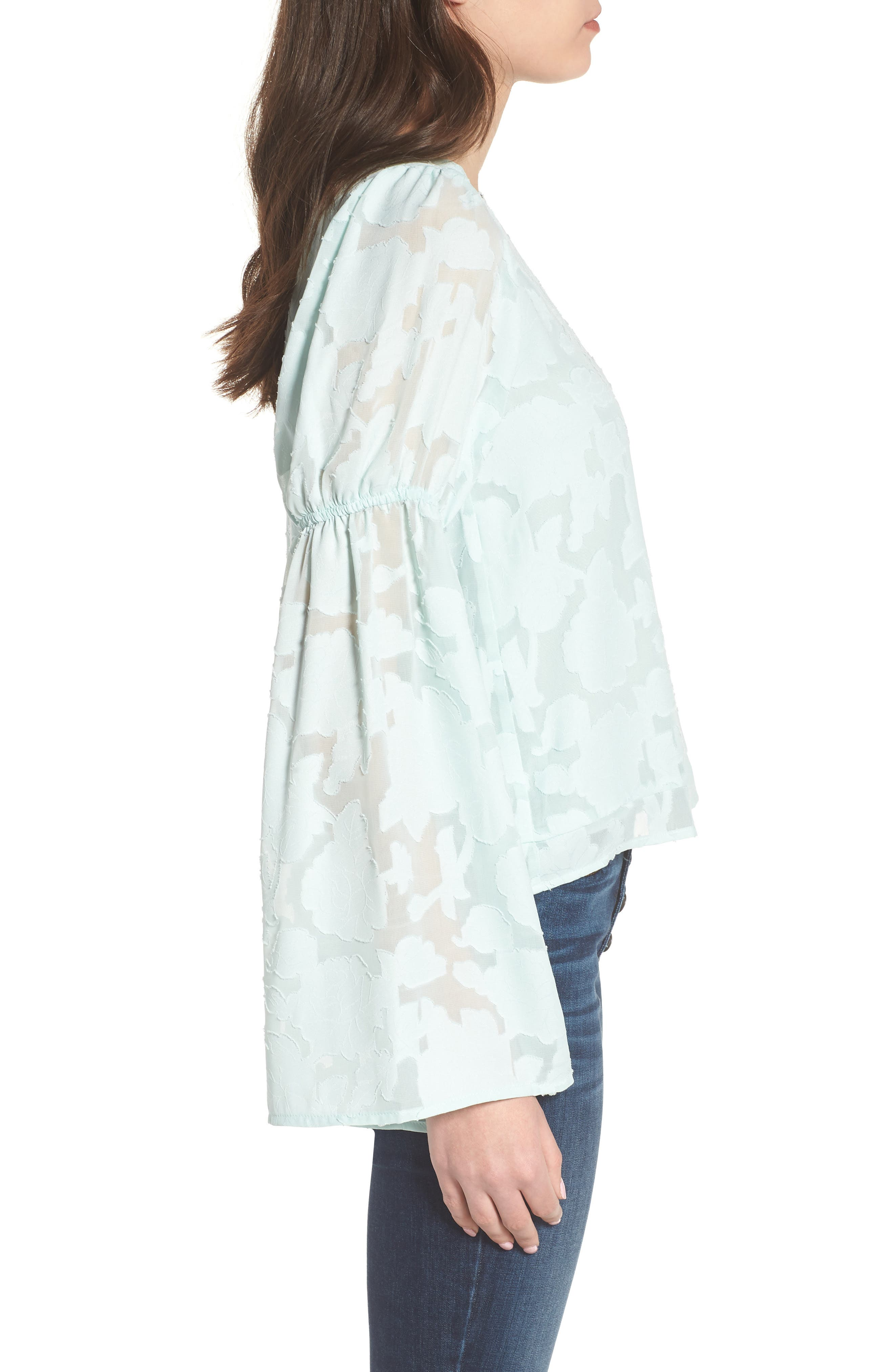 Puff Flared Sleeve Blouse,                             Alternate thumbnail 3, color,                             445