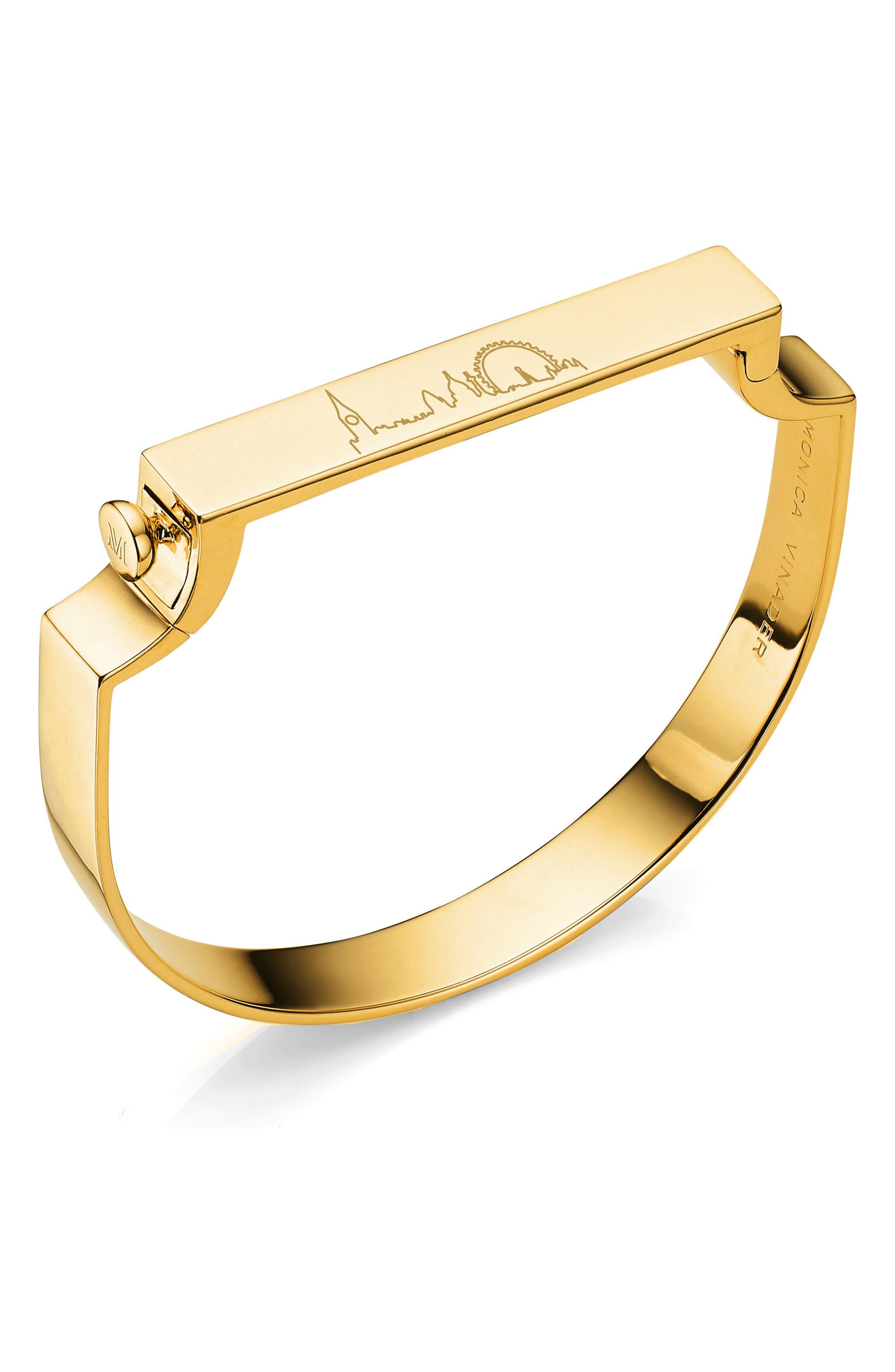 Engravable Large Signature Bracelet,                             Alternate thumbnail 3, color,                             YELLOW GOLD