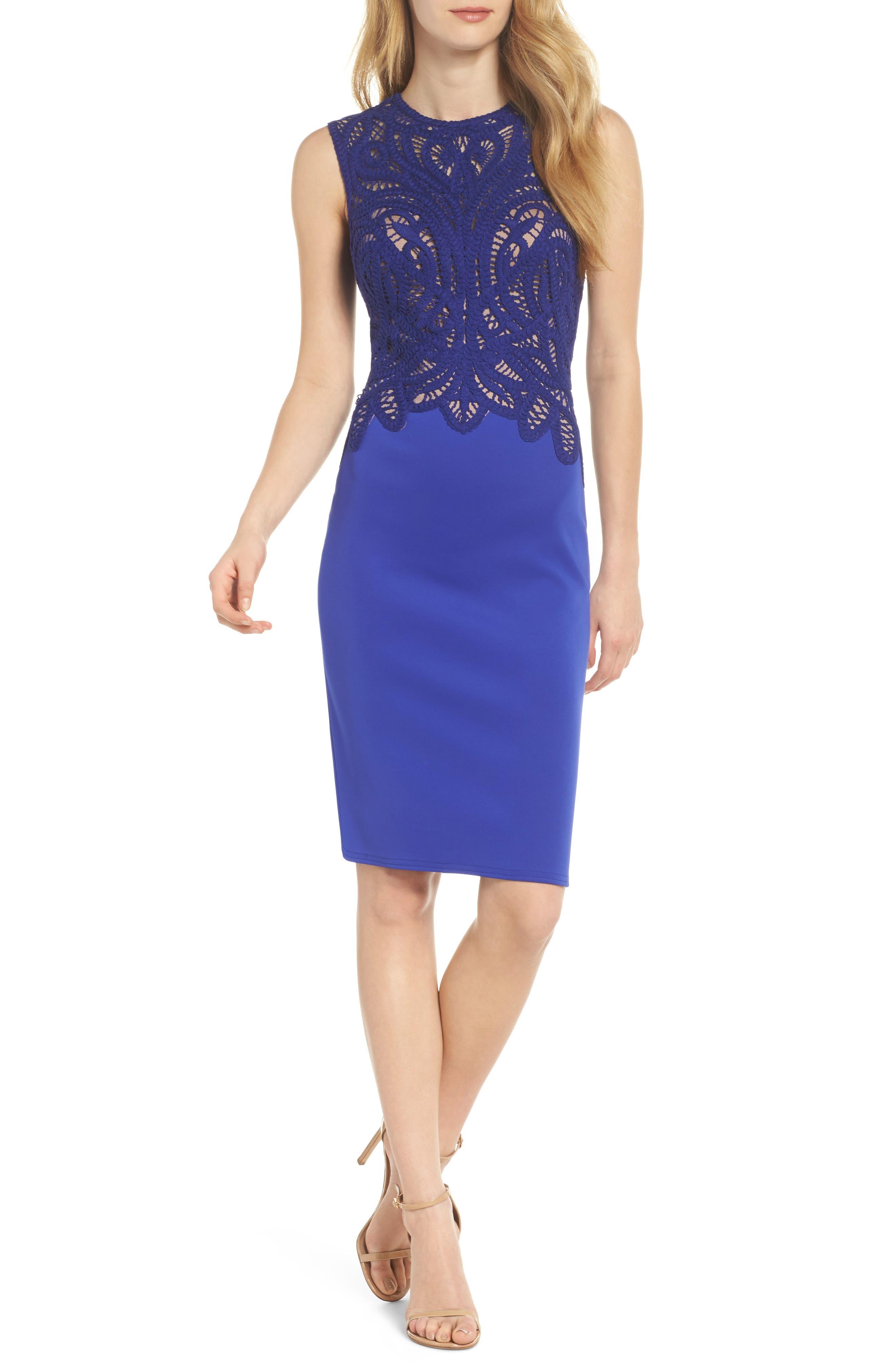 Crochet & Crepe Sheath Dress,                         Main,                         color, 404