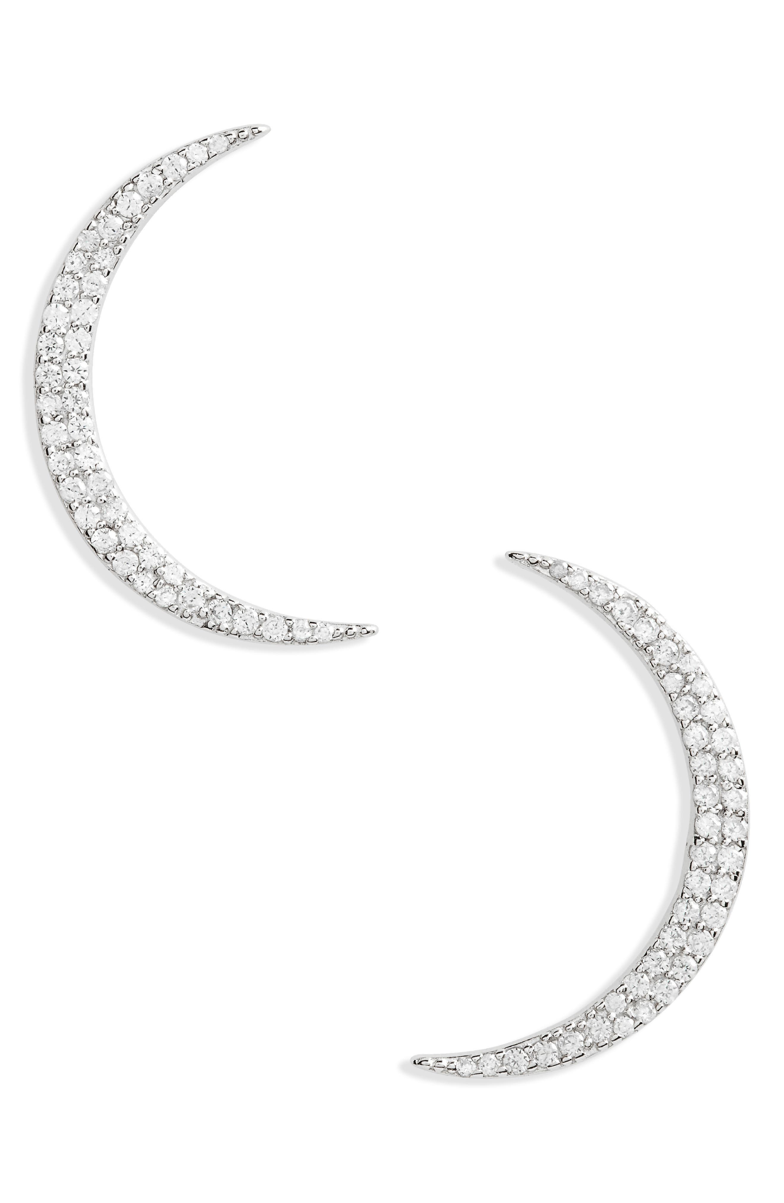 Pavé Crescent Earrings,                             Main thumbnail 1, color,                             040