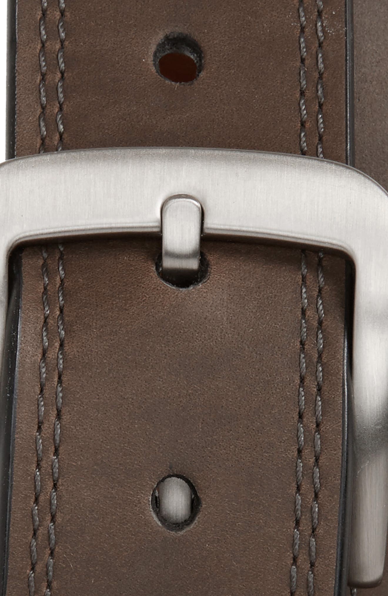 Double Stitch Leather Belt,                             Alternate thumbnail 2, color,                             CHARCOAL