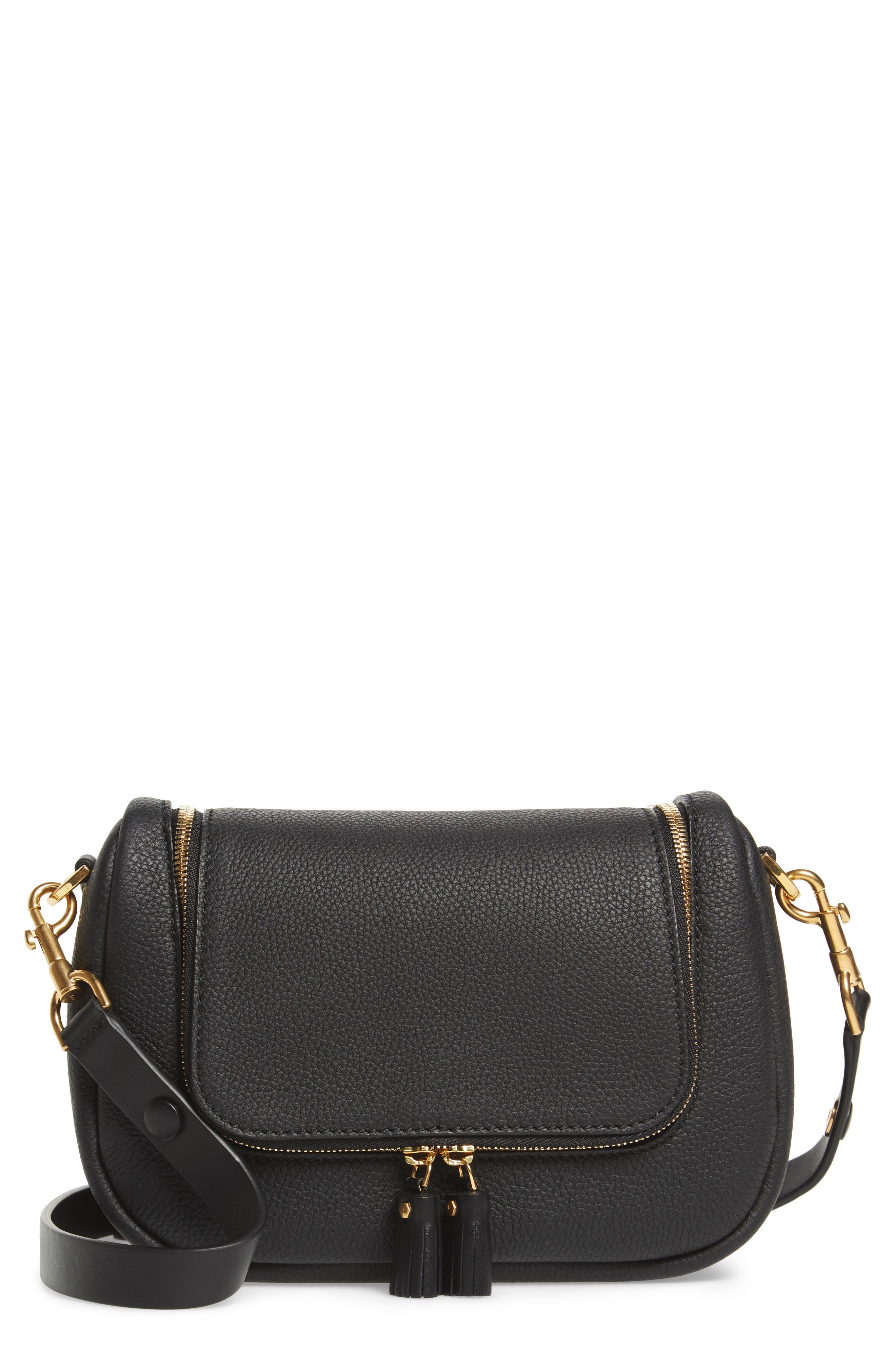 Small Vere Leather Crossbody Satchel,                         Main,                         color, BLACK