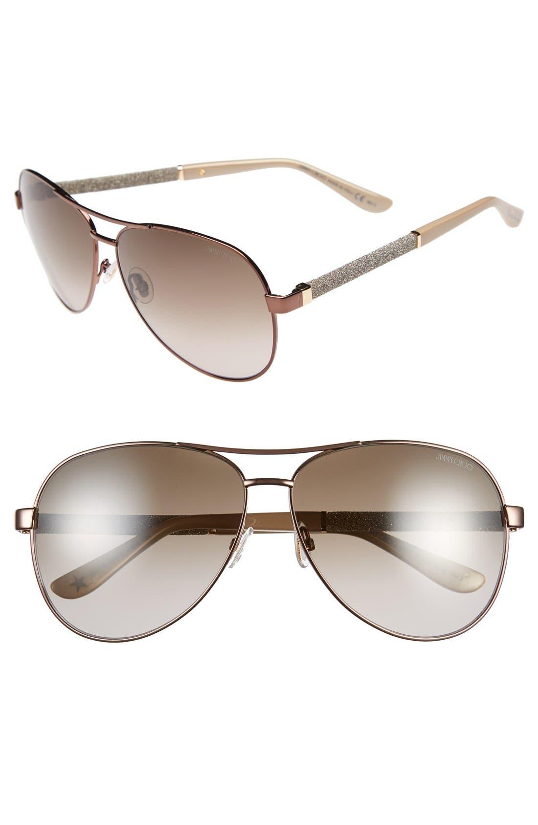 61mm Aviator Sunglasses,                         Main,                         color,