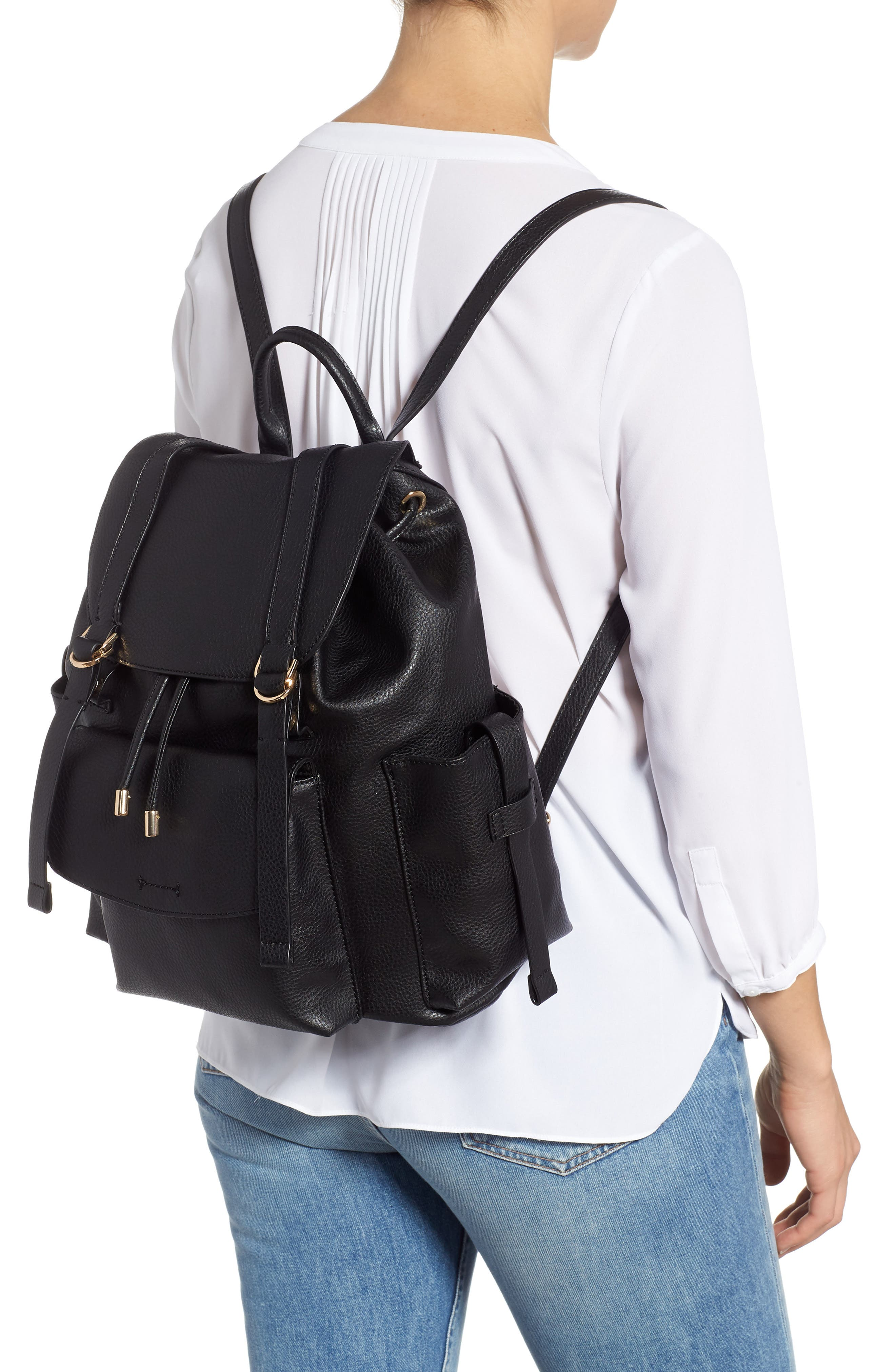 Becky Faux Leather Backpack,                             Alternate thumbnail 2, color,                             001