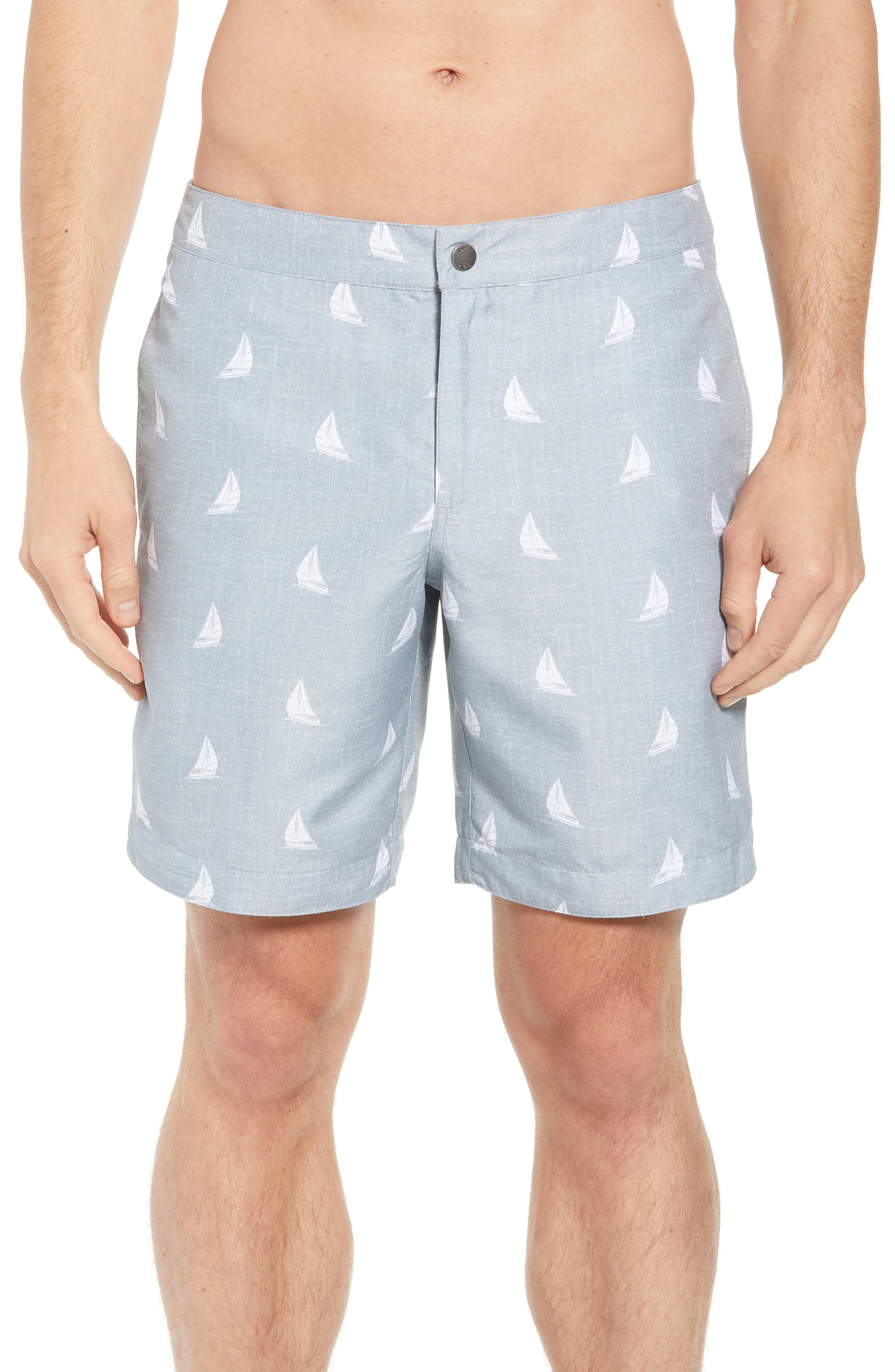 Aruba Slim Fit Swim Trunks,                             Main thumbnail 1, color,                             HEATHERED GREY SAILBOATS