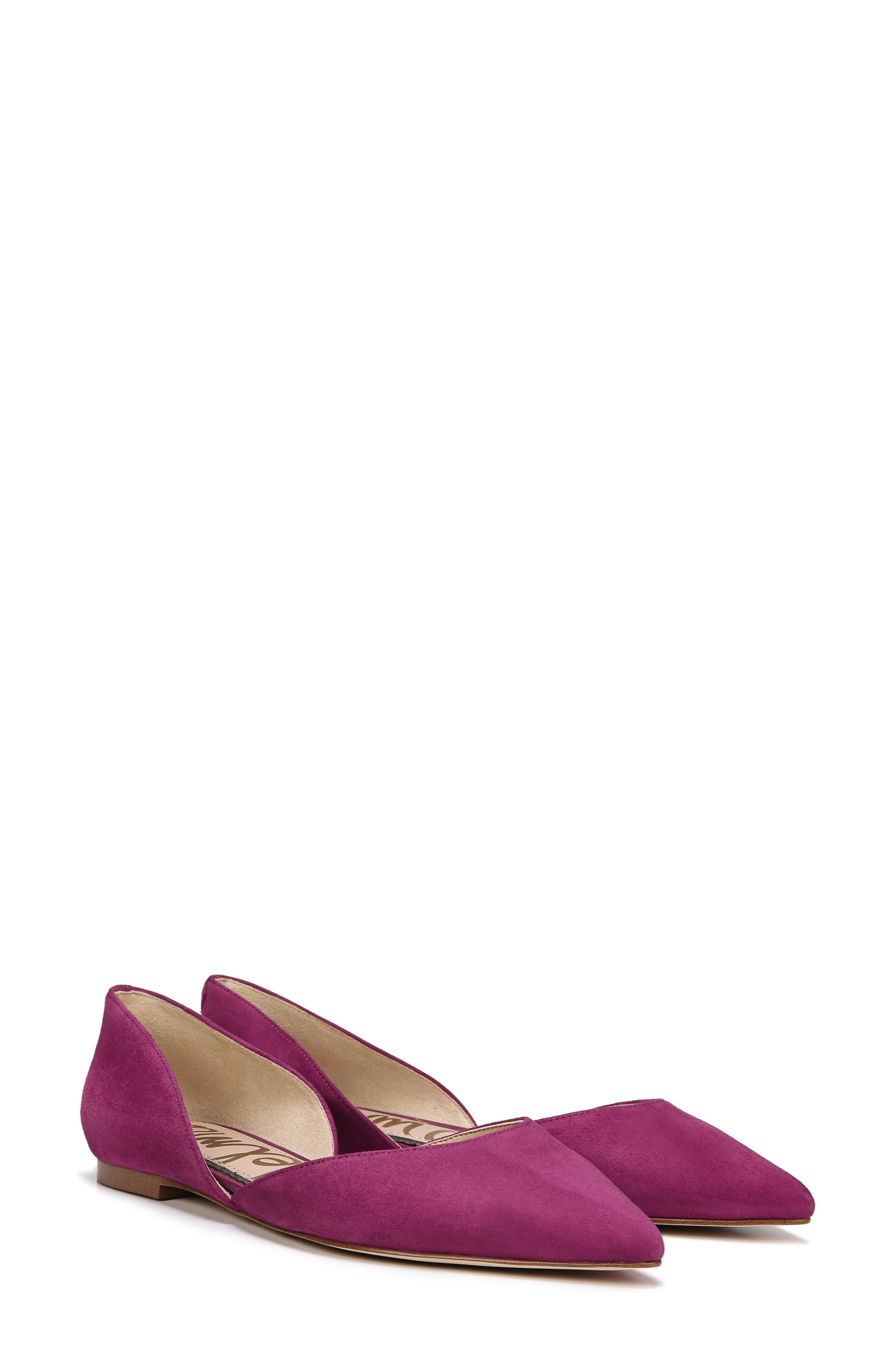 Rodney Pointy Toe d'Orsay Flat,                             Alternate thumbnail 7, color,                             PURPLE PLUM SUEDE