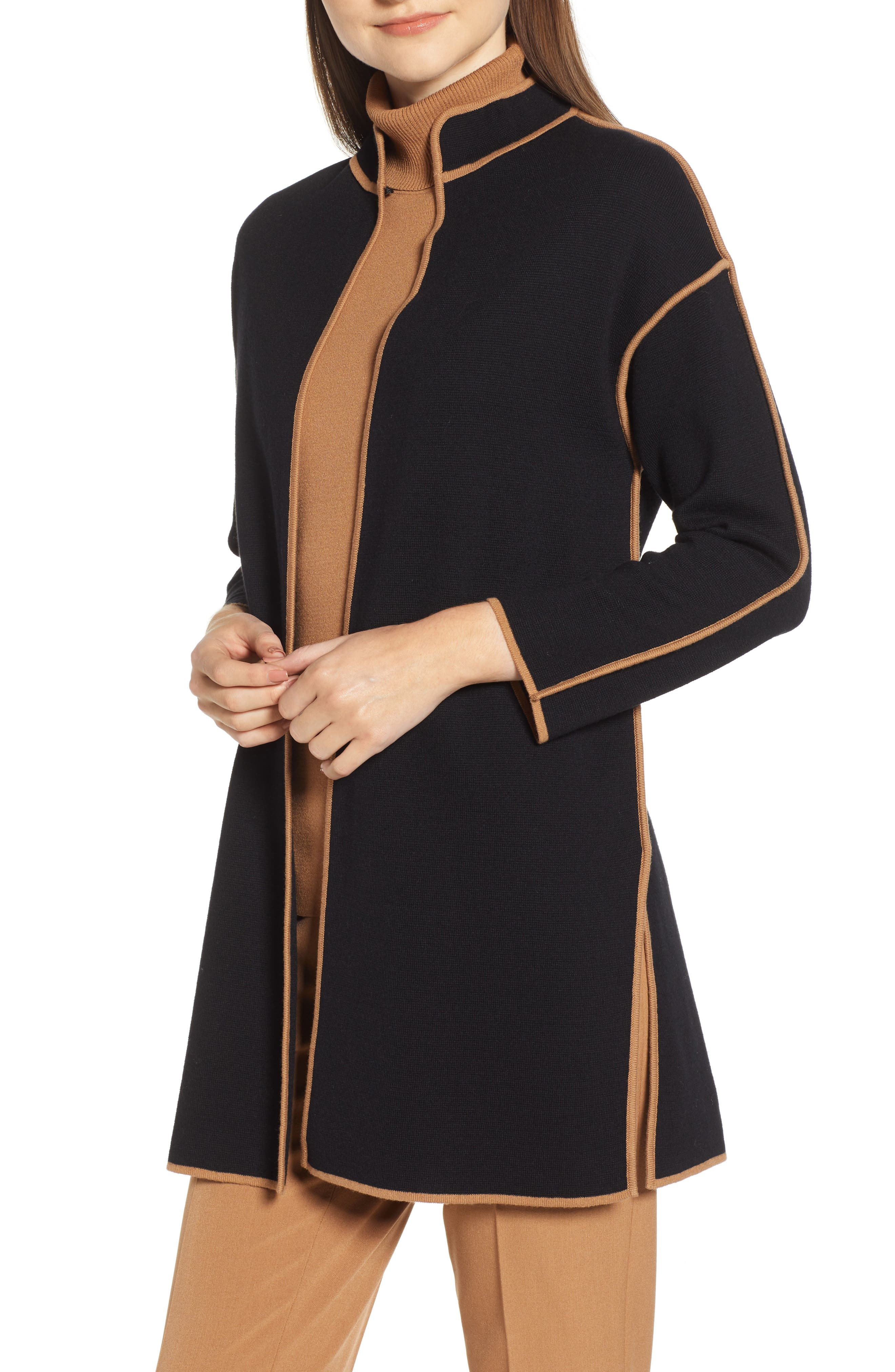 ANNE KLEIN Piped Detail Nehru Sweater Coat in Anne Black/ Vicuna
