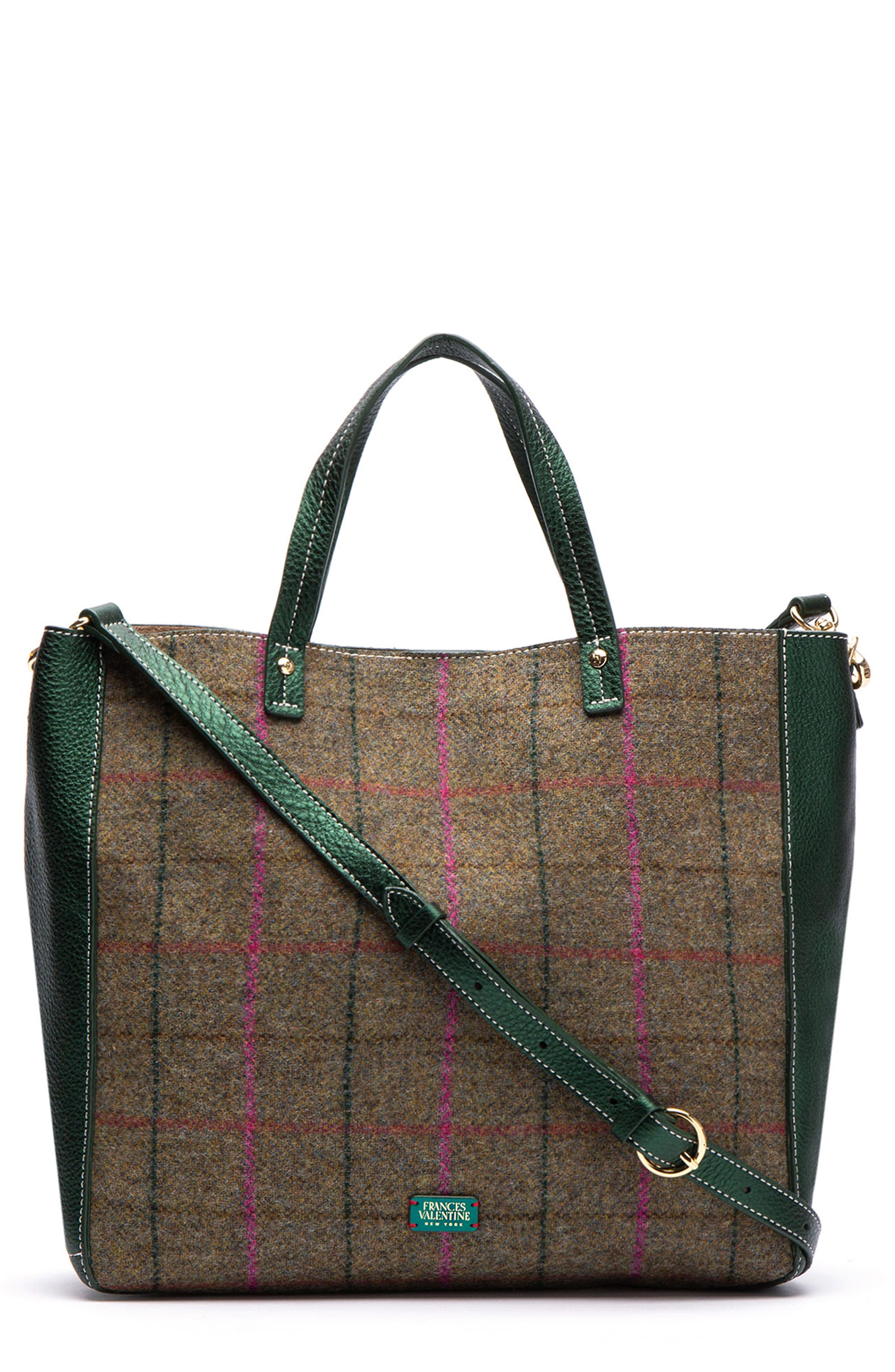 Large Margaret Wool & Leather Tote,                             Main thumbnail 1, color,                             EQUESTRIAN PLAID