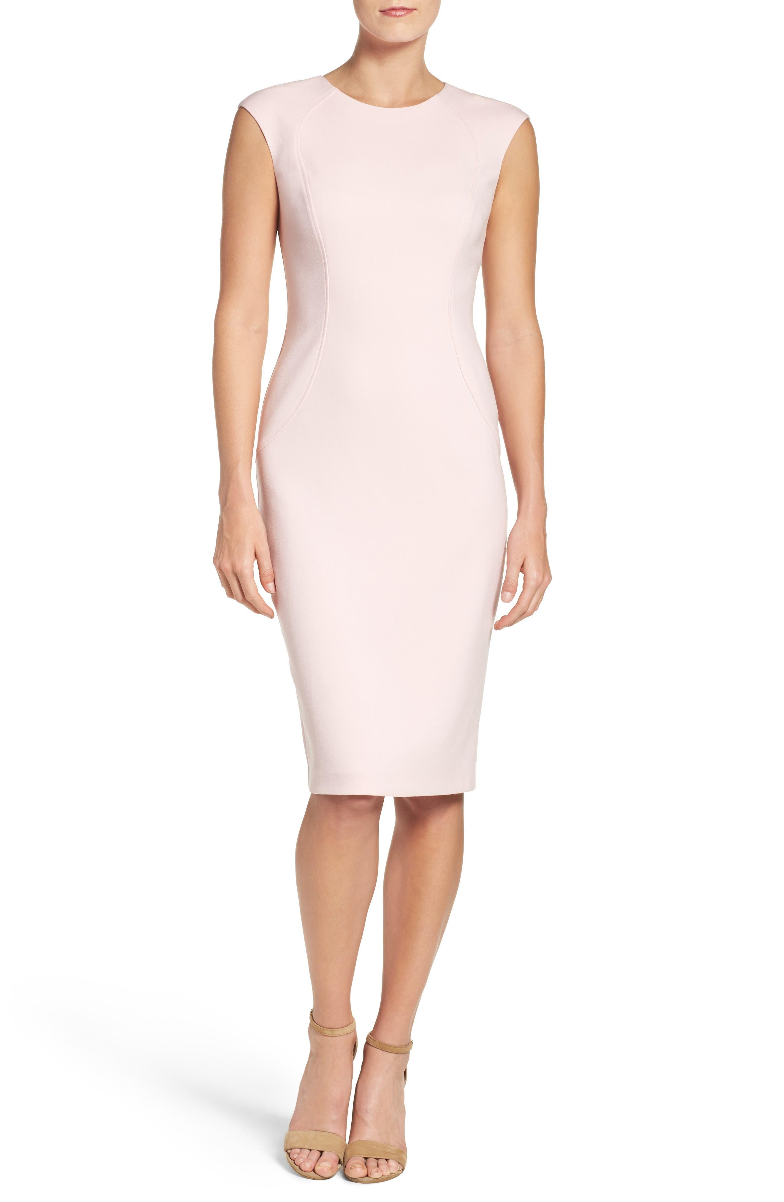 Cap Sleeve Crepe Sheath Dress,                             Main thumbnail 2, color,