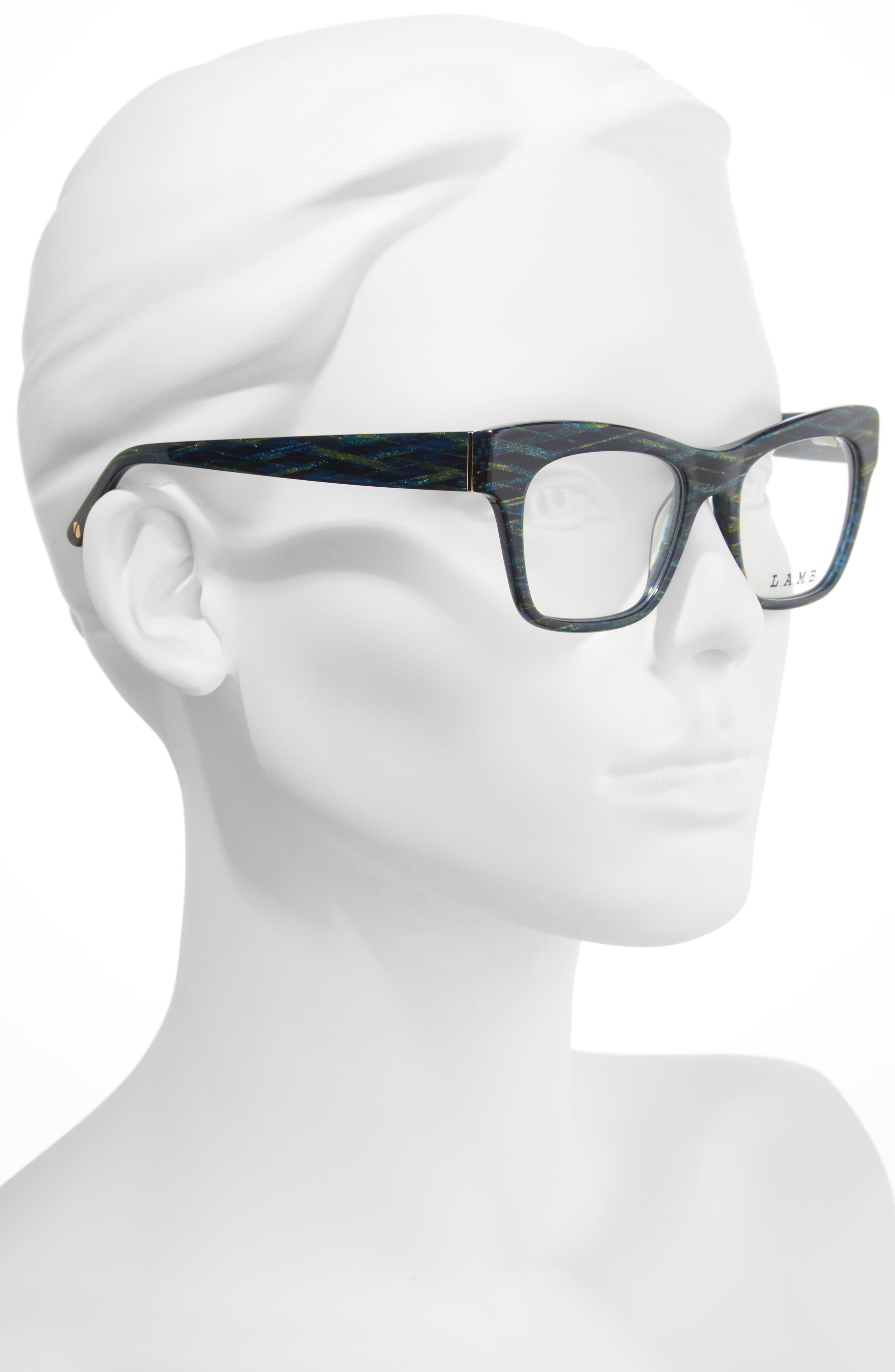 50mm Optical Rectangular Glasses,                             Alternate thumbnail 2, color,                             400
