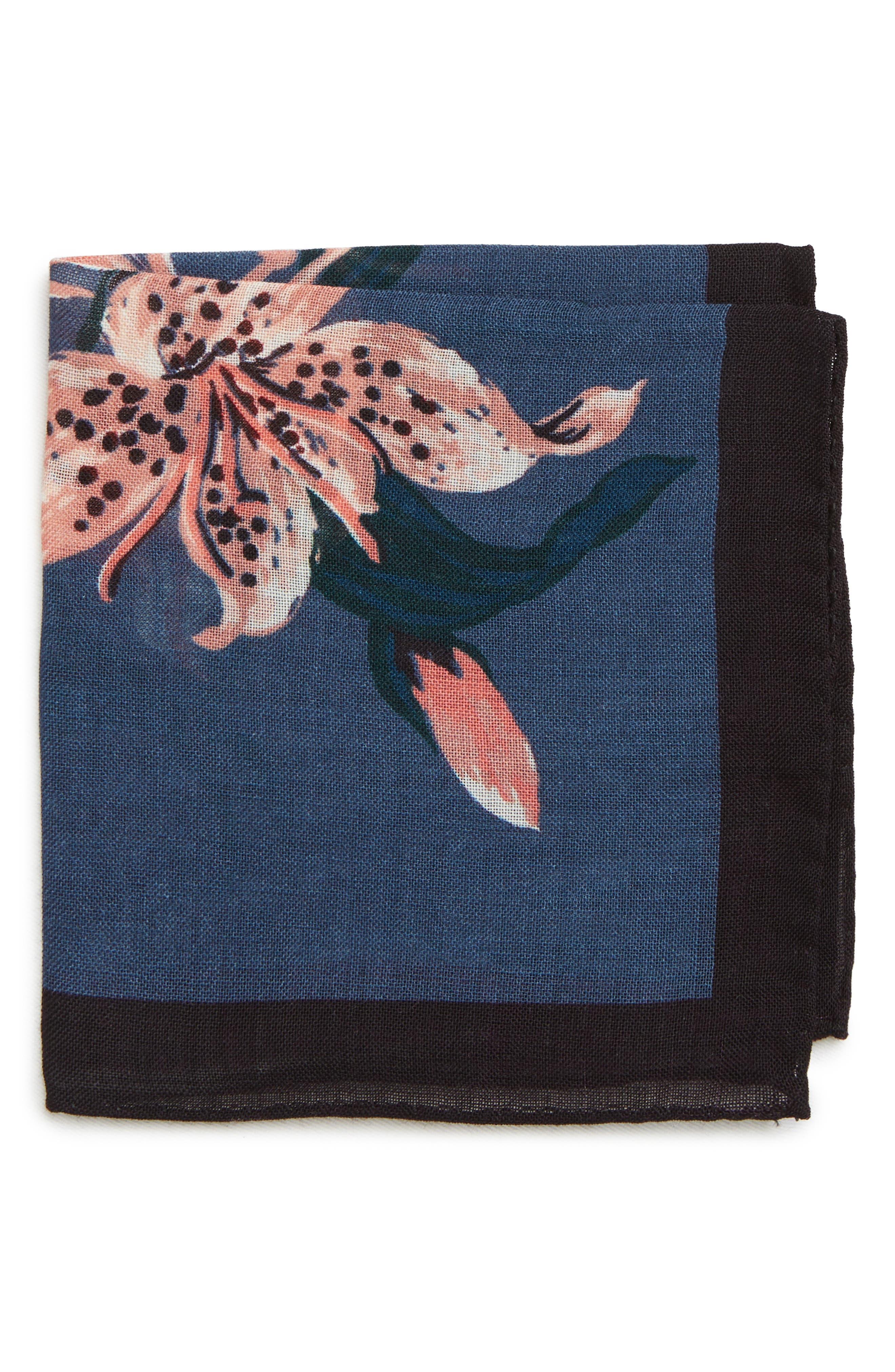 Floral Wool Pocket Square,                         Main,                         color, FLORAL BLUE JAY