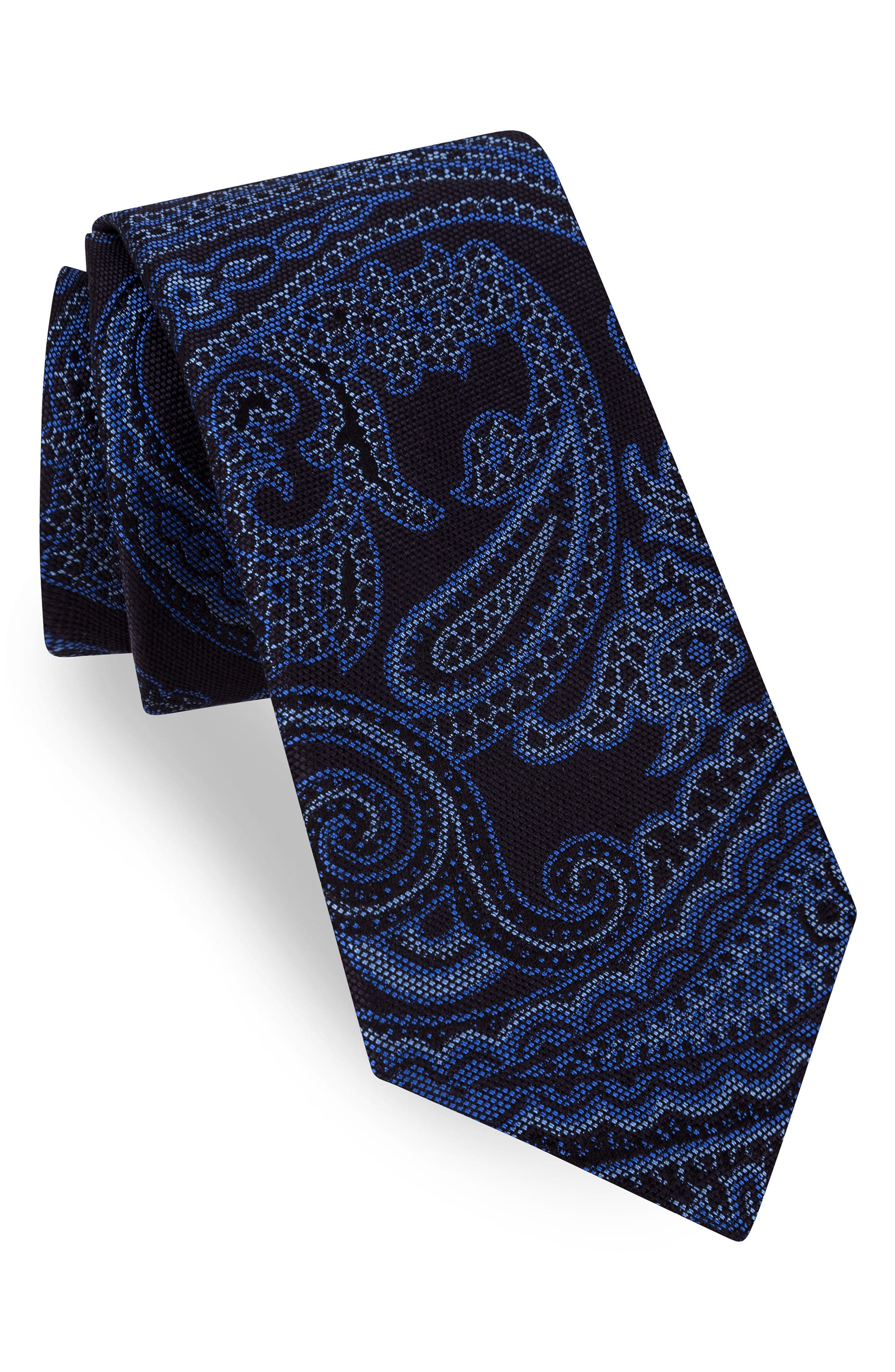 Peter Paisley Silk Tie,                         Main,                         color, 001