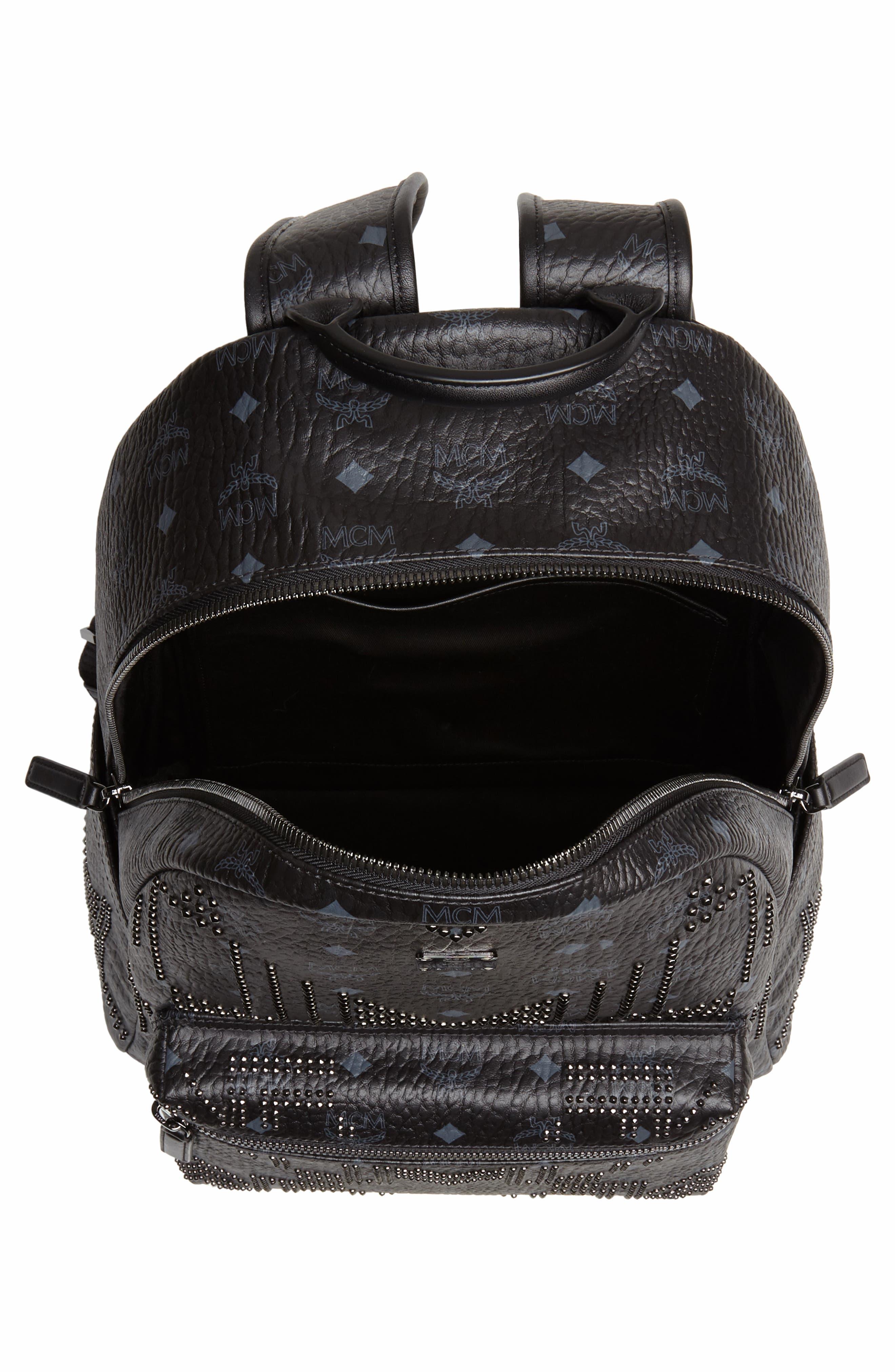 Stark Stud Faux Leather Backpack,                             Alternate thumbnail 4, color,                             BLACK
