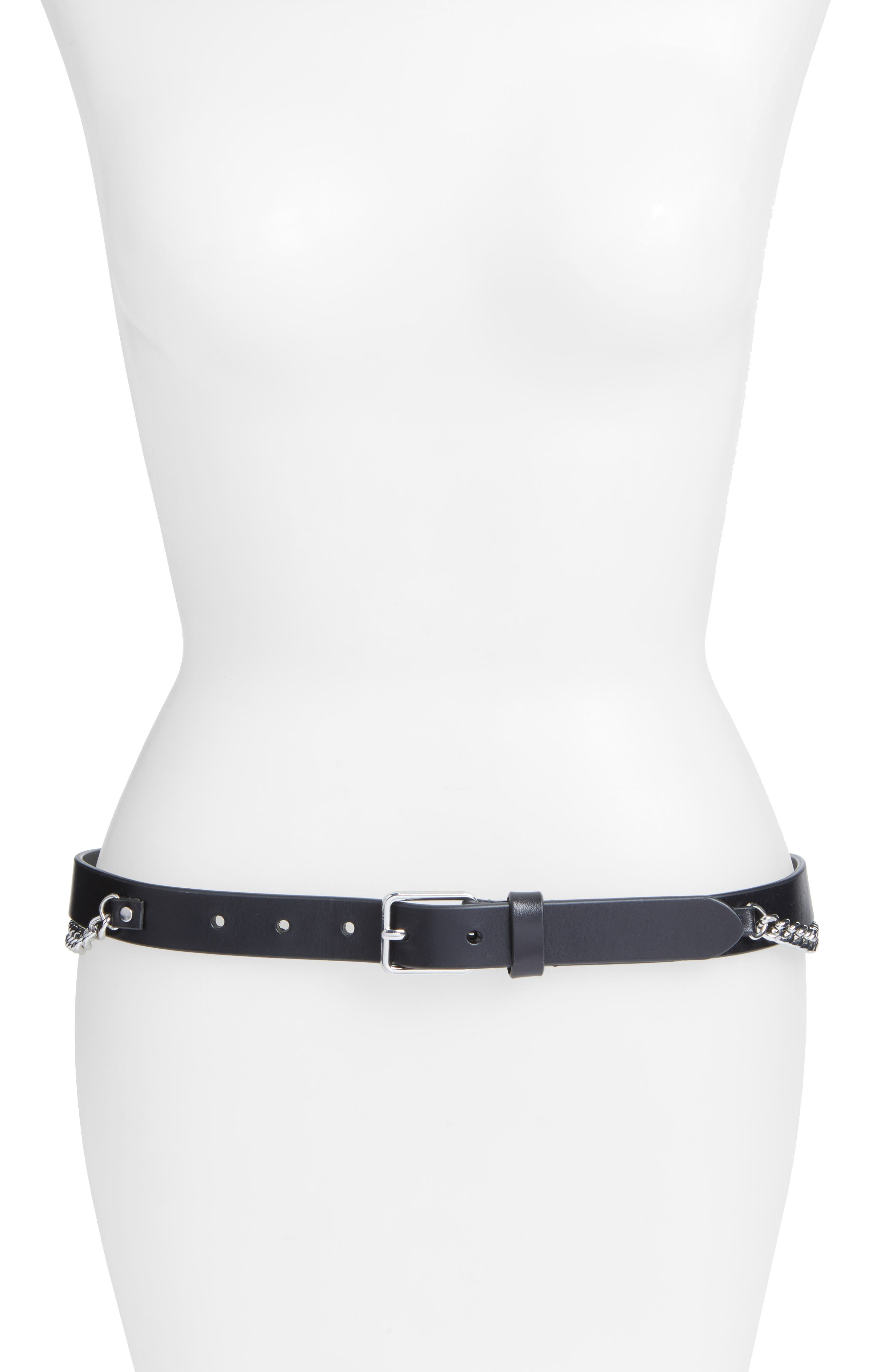 Farah Skinny Calfskin Leather Belt,                             Main thumbnail 1, color,                             001