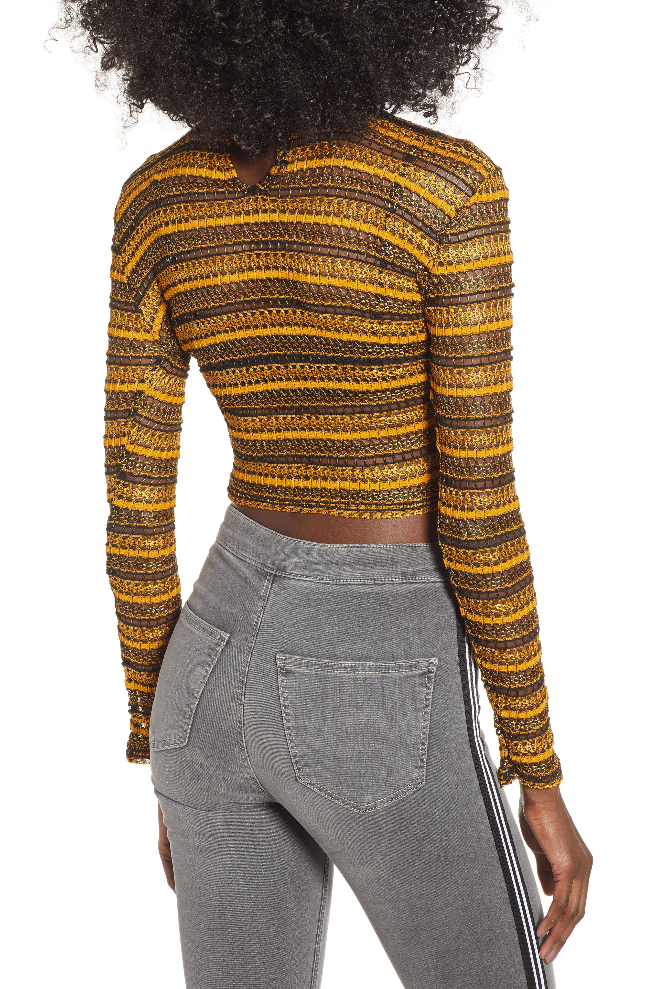 Stripe Lace Crop Top,                             Alternate thumbnail 2, color,                             YELLOW MULTI