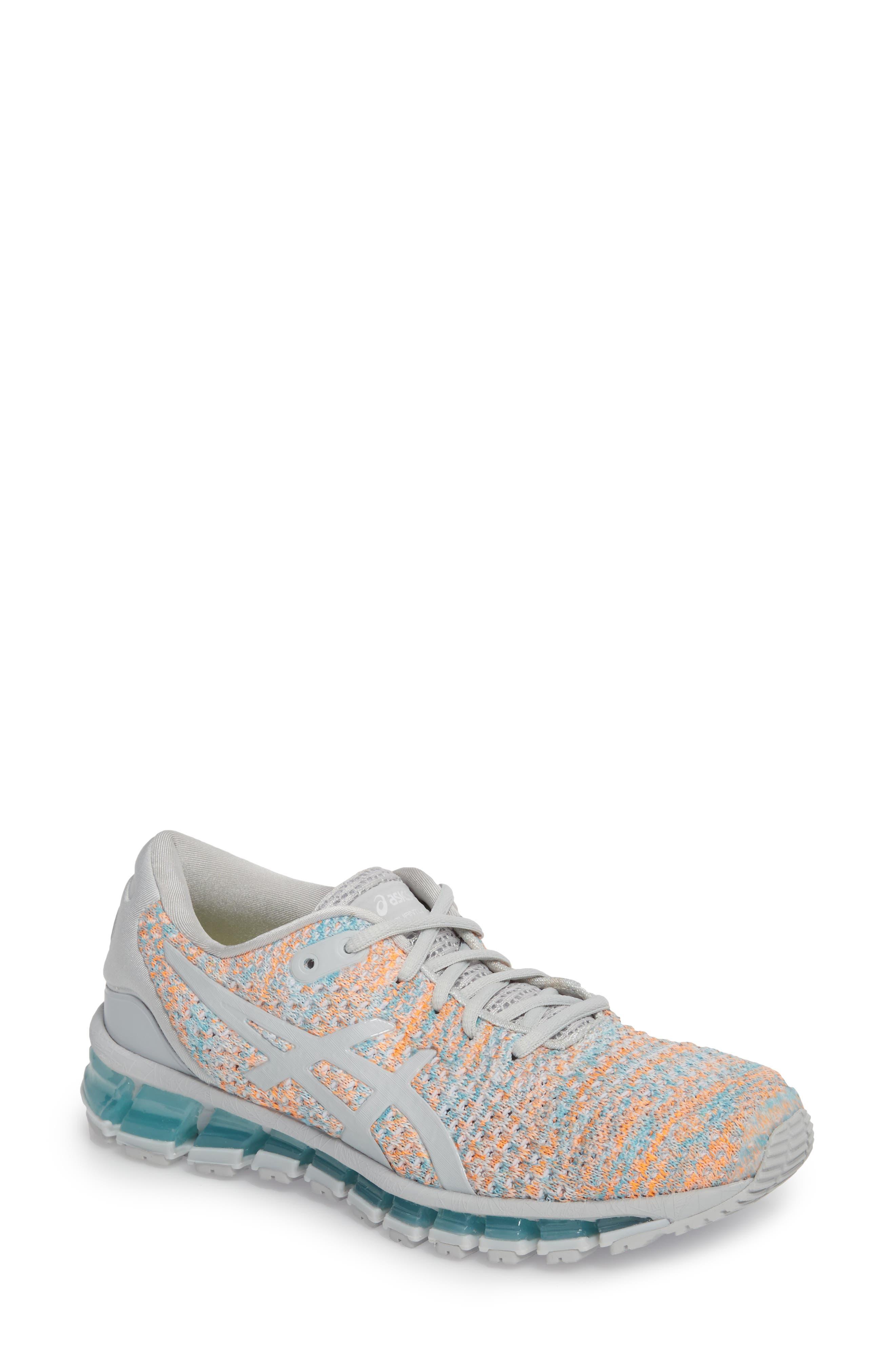 GEL-Quantum 360 Running Shoe,                         Main,                         color, GLACIER GREY/ ORANGE POP/ BLUE