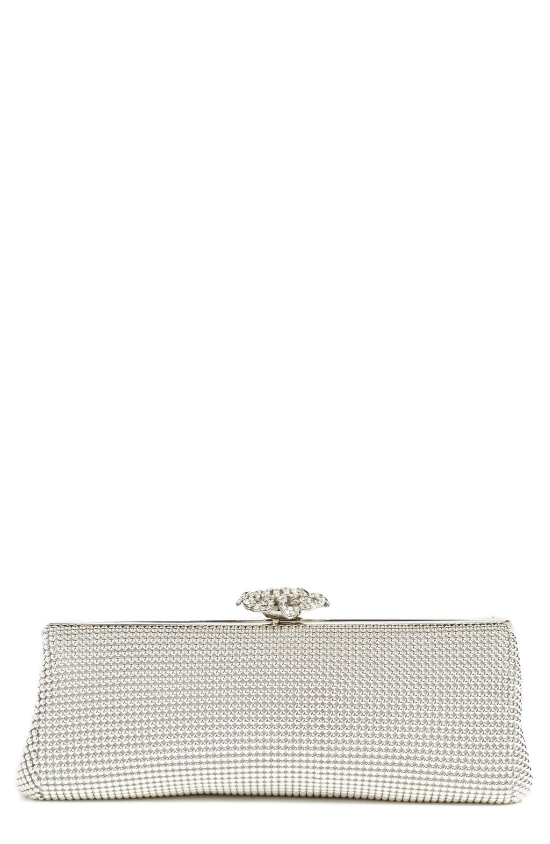 'Crystal Flower' Metal Mesh Clutch,                             Main thumbnail 1, color,                             SILVER