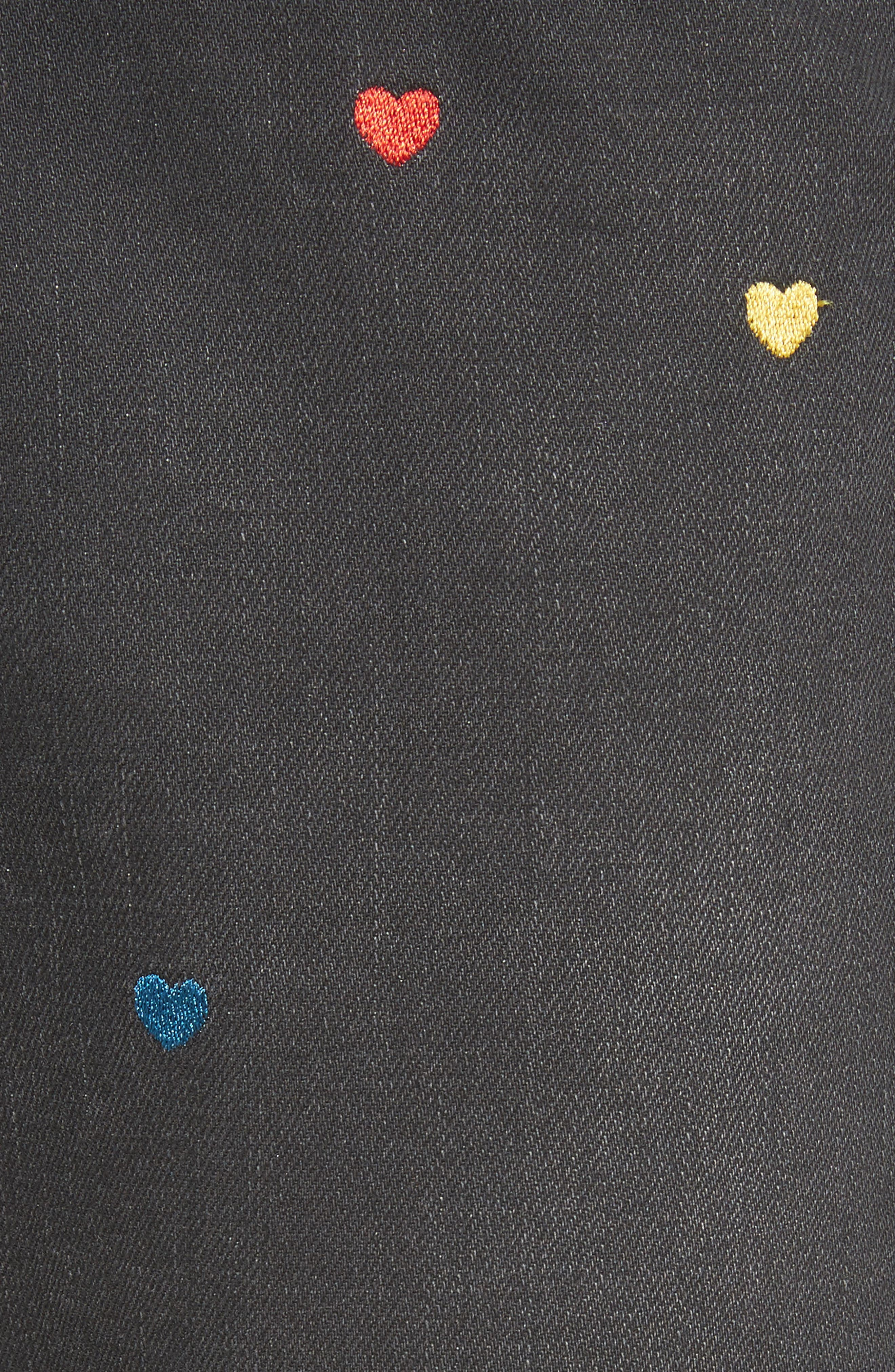 Heart Embroidered Skinny Boyfriend Jeans,                             Alternate thumbnail 5, color,                             001