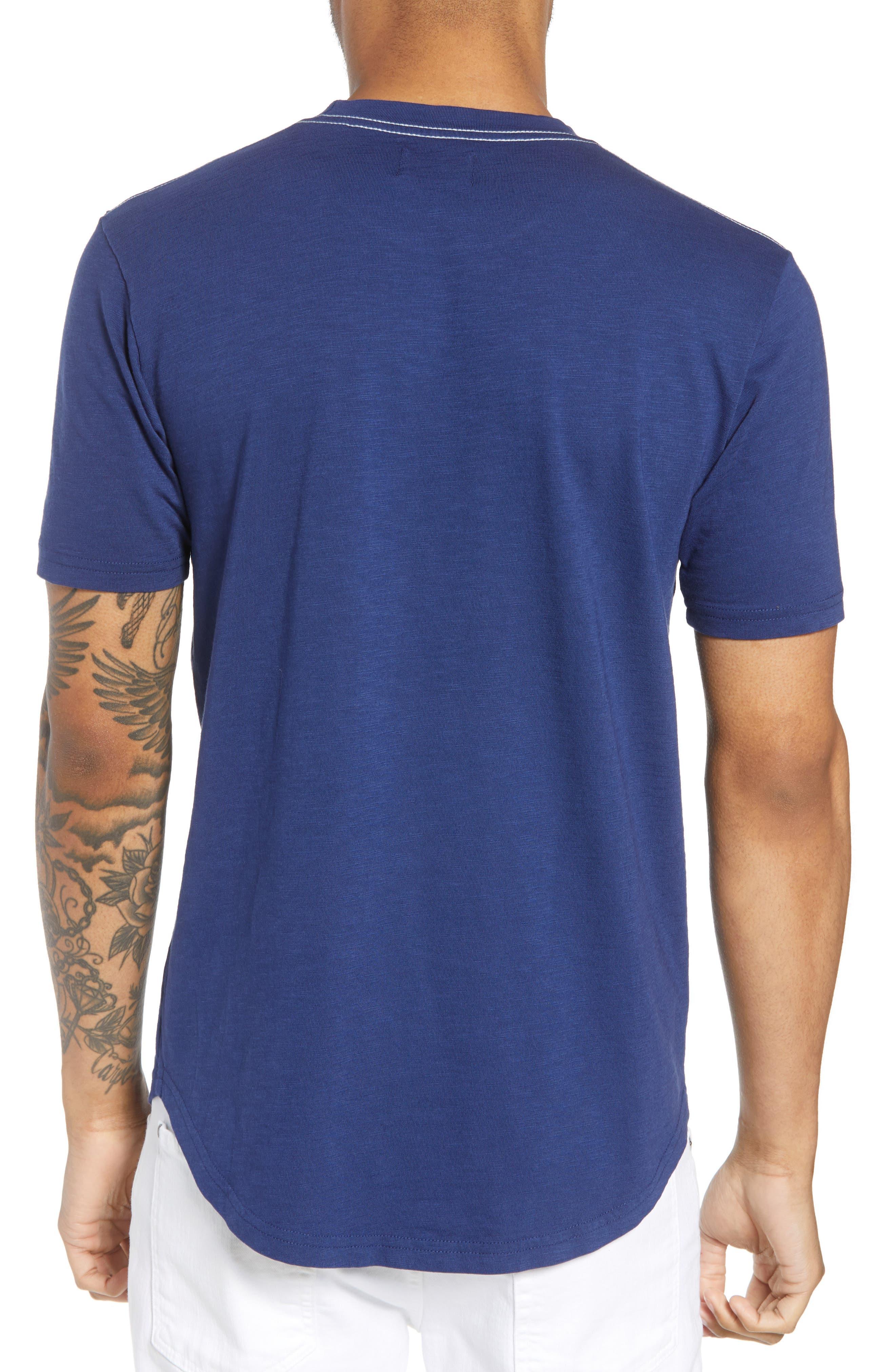 Scallop Hem Slub Crewneck T-Shirt,                             Alternate thumbnail 2, color,                             GOODLIFE NAVY