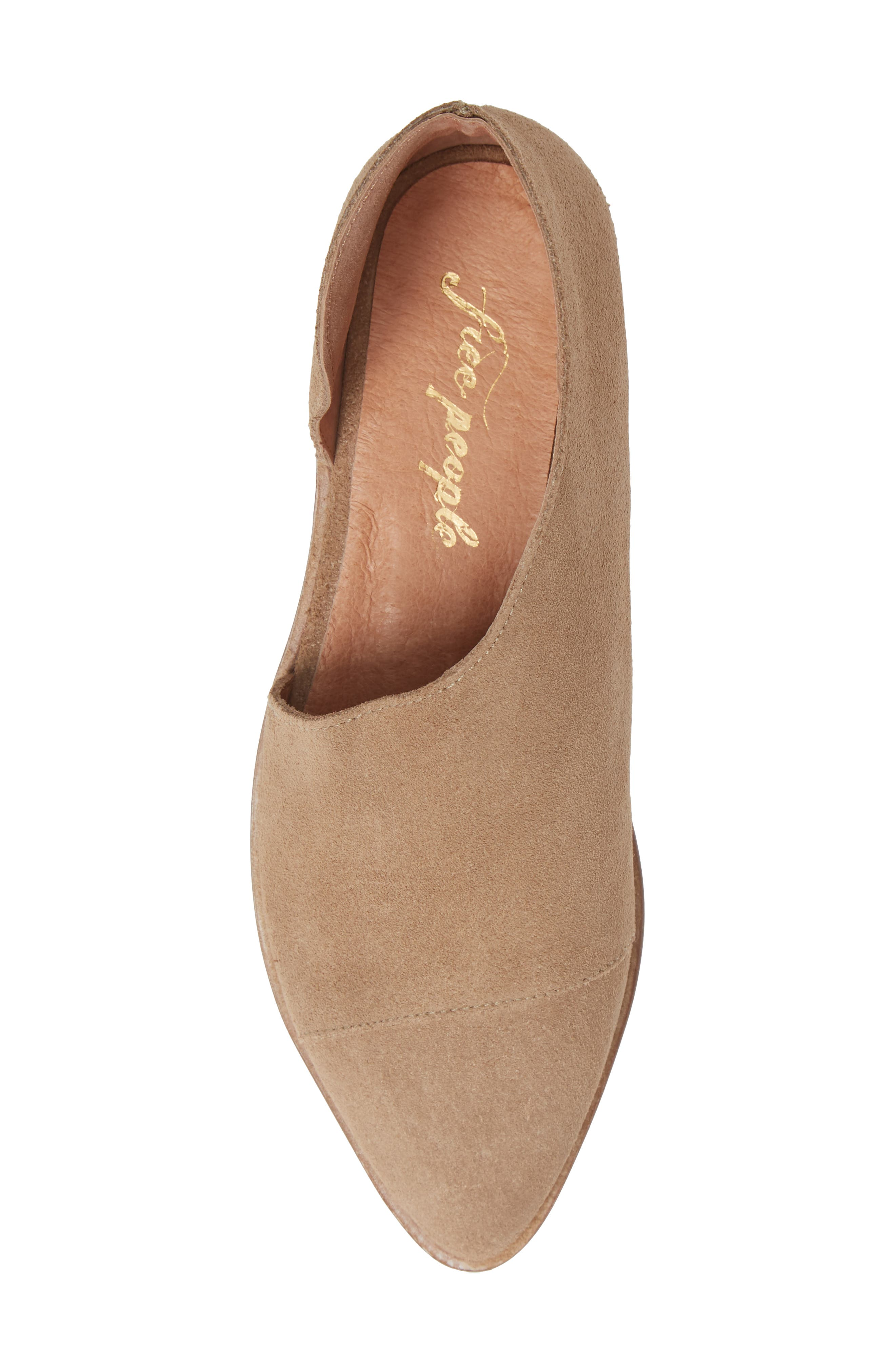 'Royale' Pointy Toe Flat,                             Alternate thumbnail 5, color,                             BEIGE SUEDE