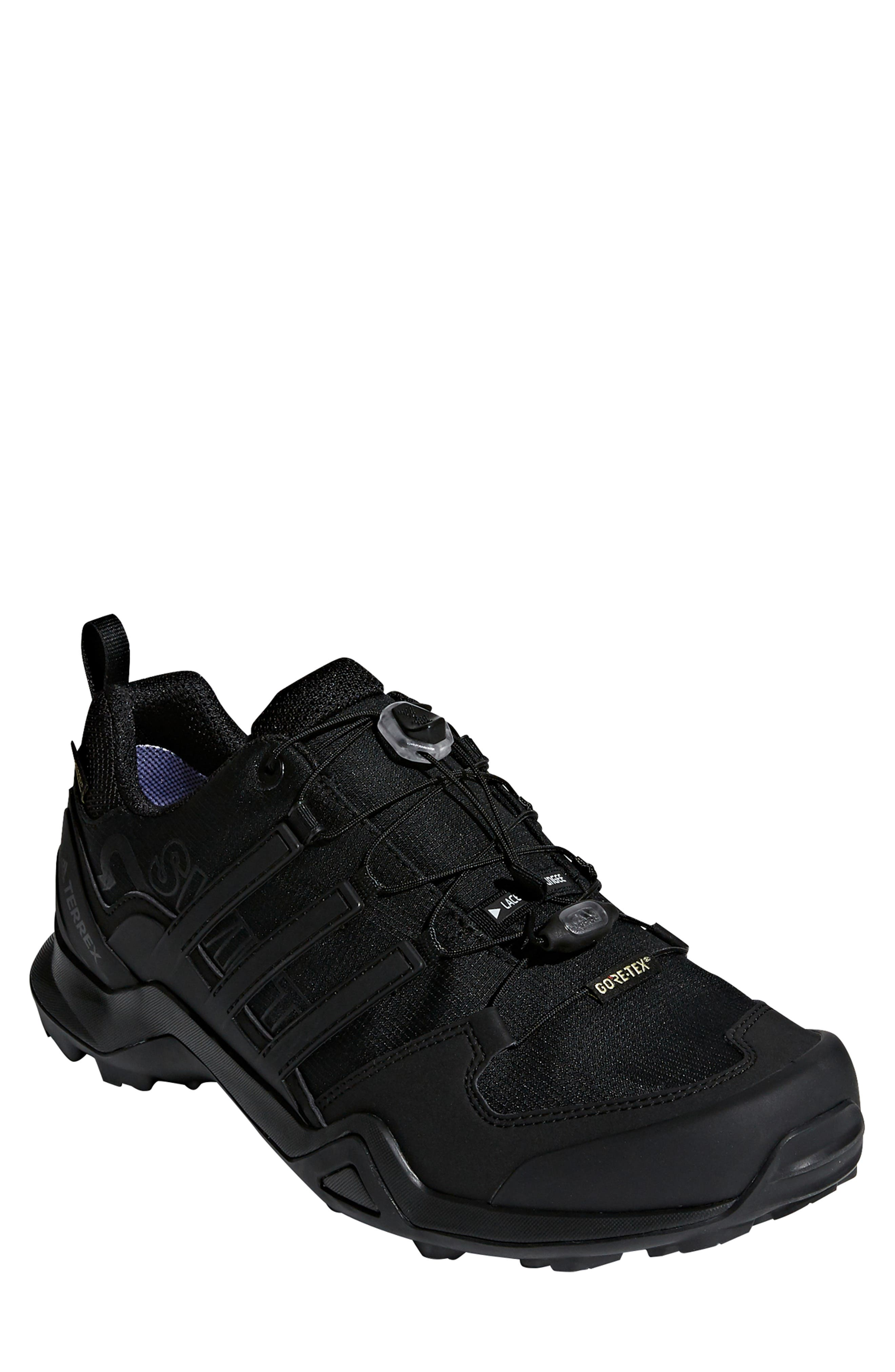 ADIDAS,                             Terrex Swift R2 GTX Gore-Tex<sup>®</sup> Waterproof Hiking Shoe,                             Main thumbnail 1, color,                             BLACK/ BLACK/ BLACK