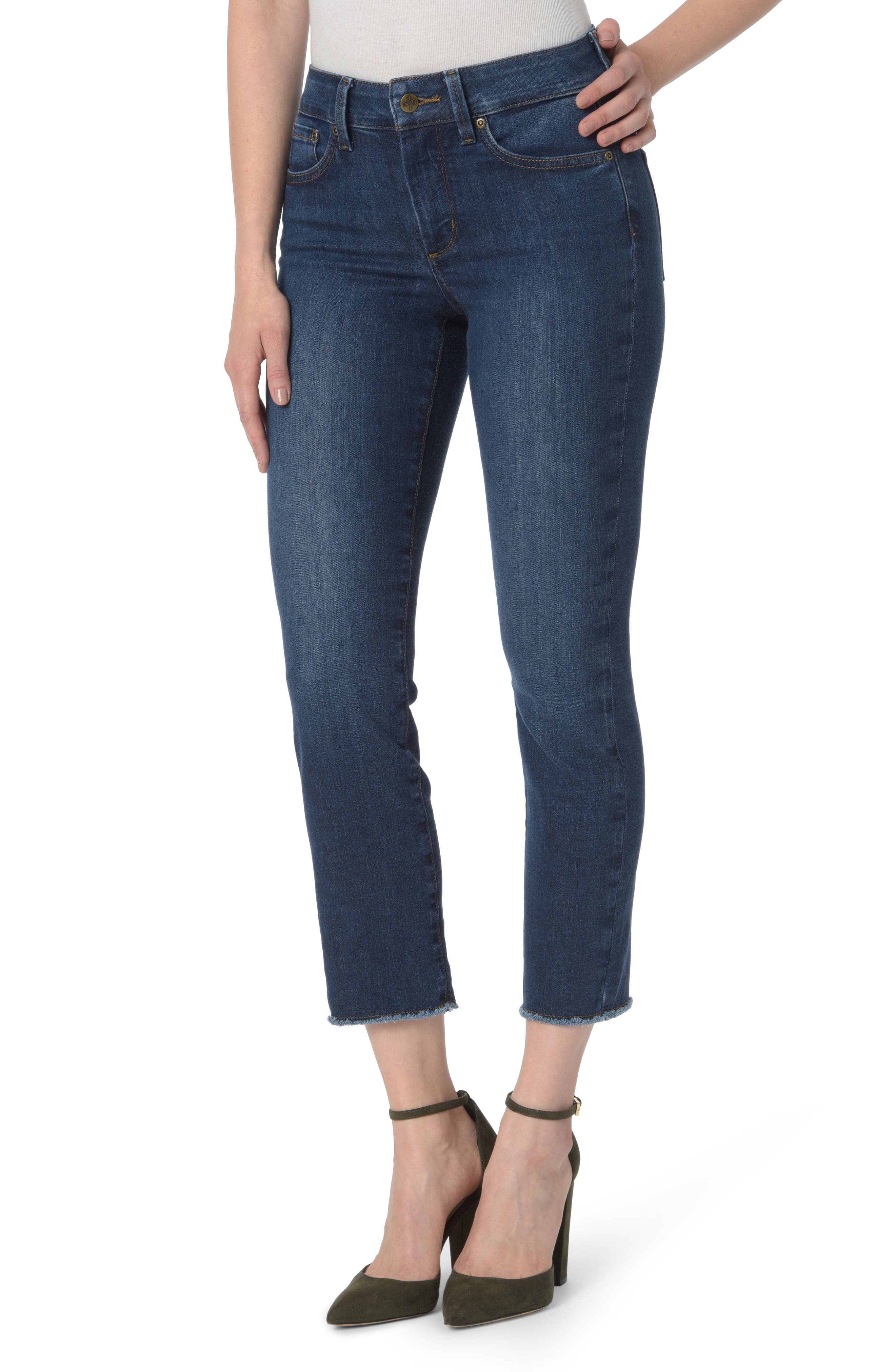 Sheri High Waist Frayed Hem Slim Ankle Jeans, Main, color, COOPER