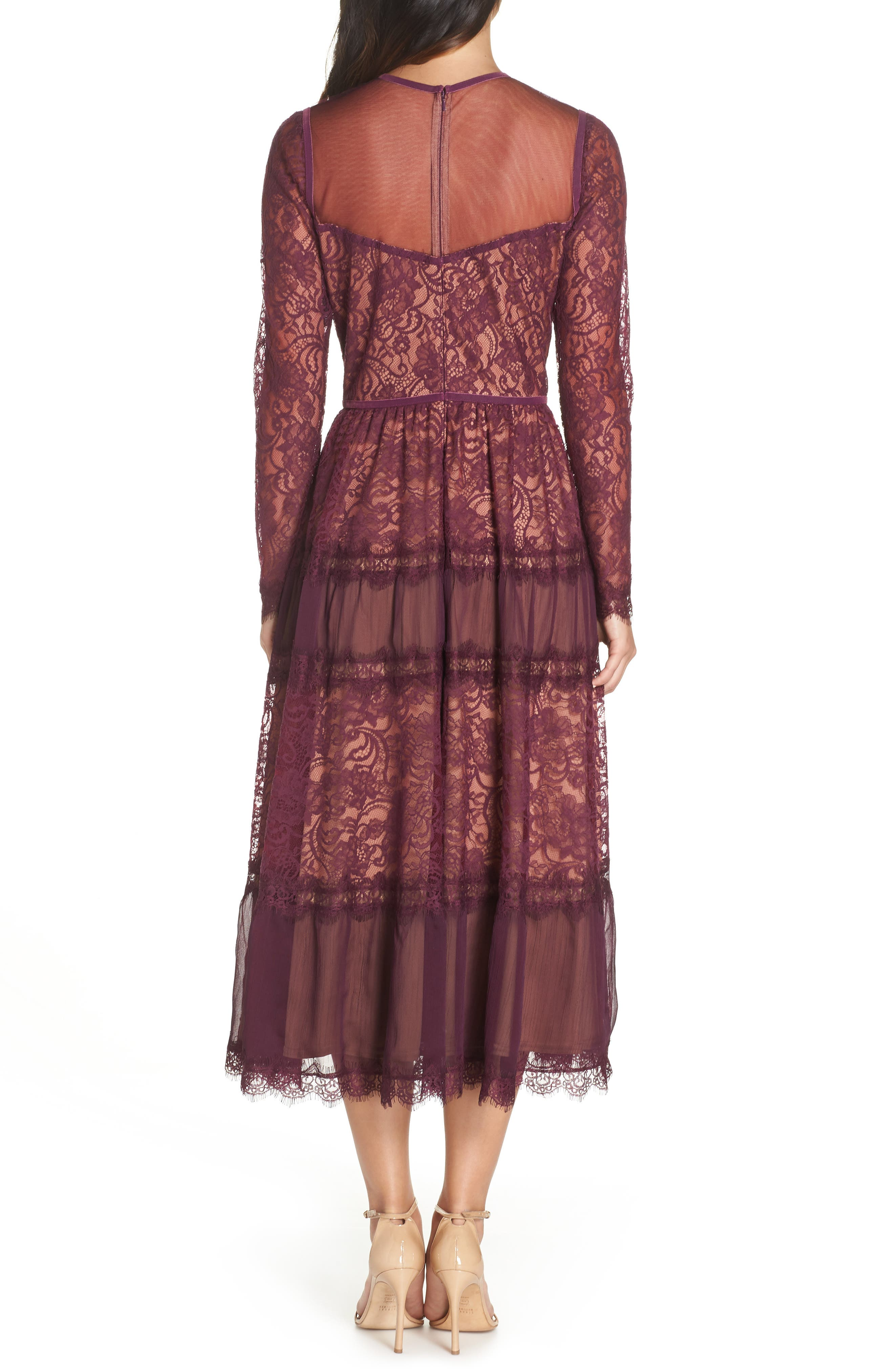 Embroidered Lace Dress,                             Alternate thumbnail 2, color,                             DEWBERRY/ NUDE