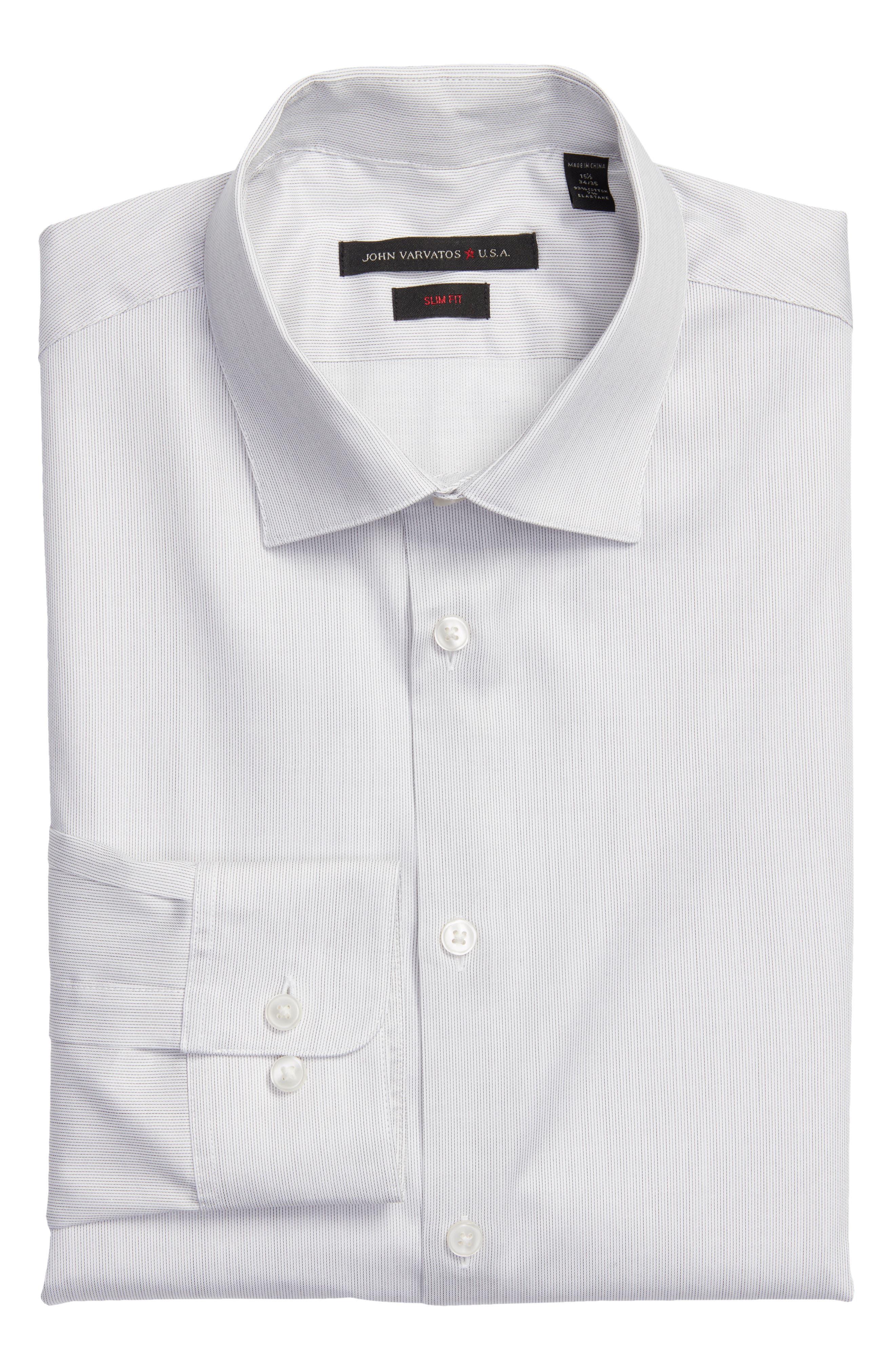 Slim Fit Stripe Stretch Dress Shirt,                             Main thumbnail 1, color,                             SMOKE